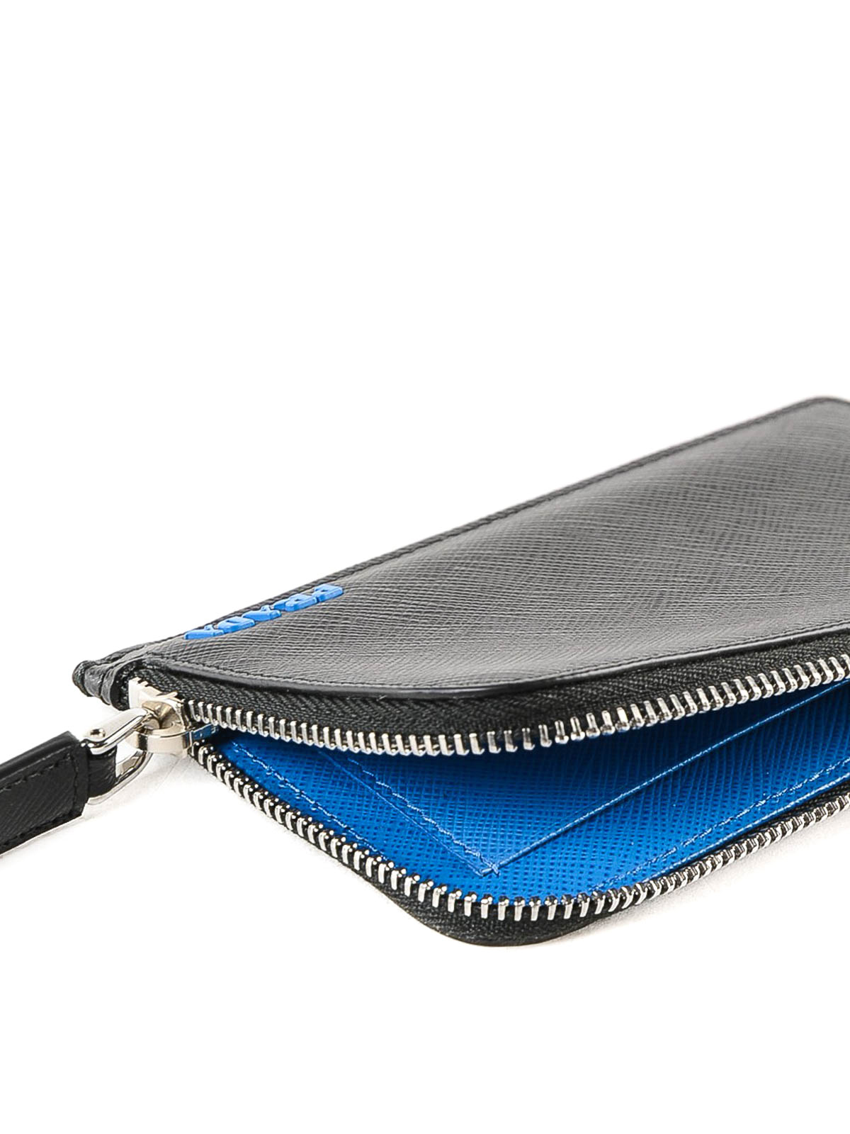 2c1a73ea719f Black and blue saffiano leather card holder shop online: PRADA. PRADA:  wallets & purses ...