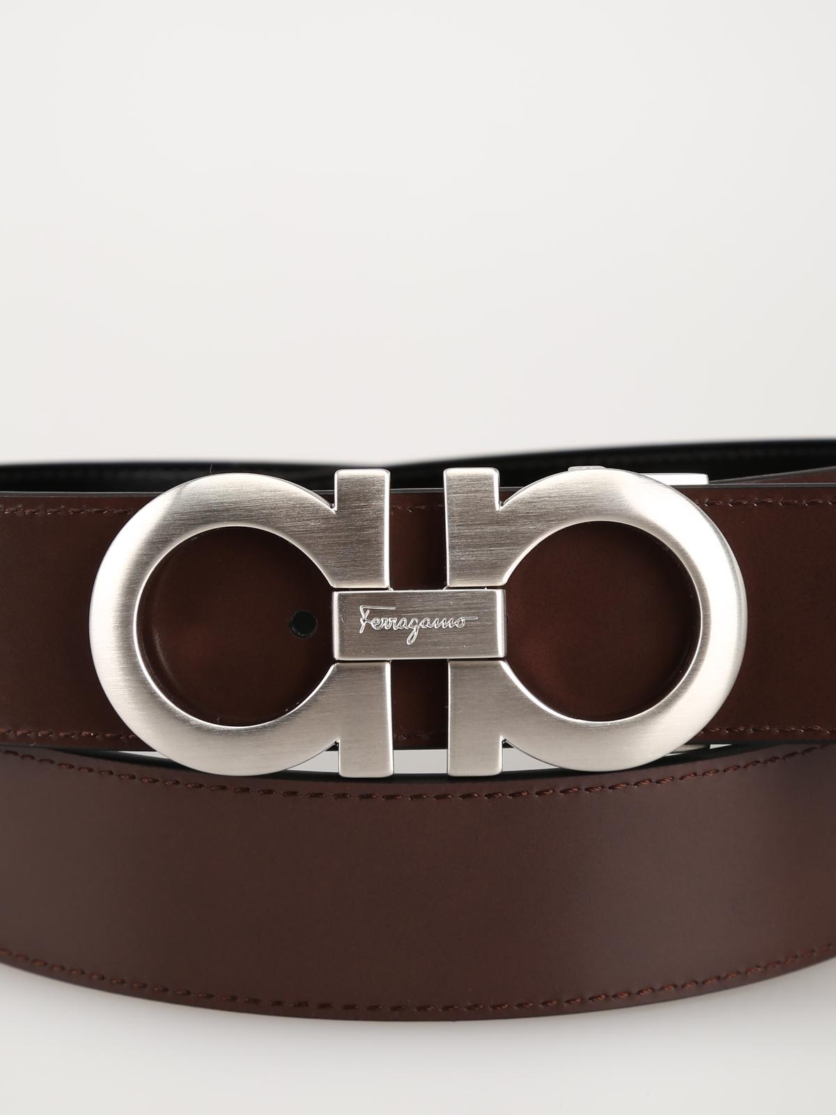 a14400425b6d Cintura reversibile in pelle nera e marrone shop online: SALVATORE FERRAGAMO