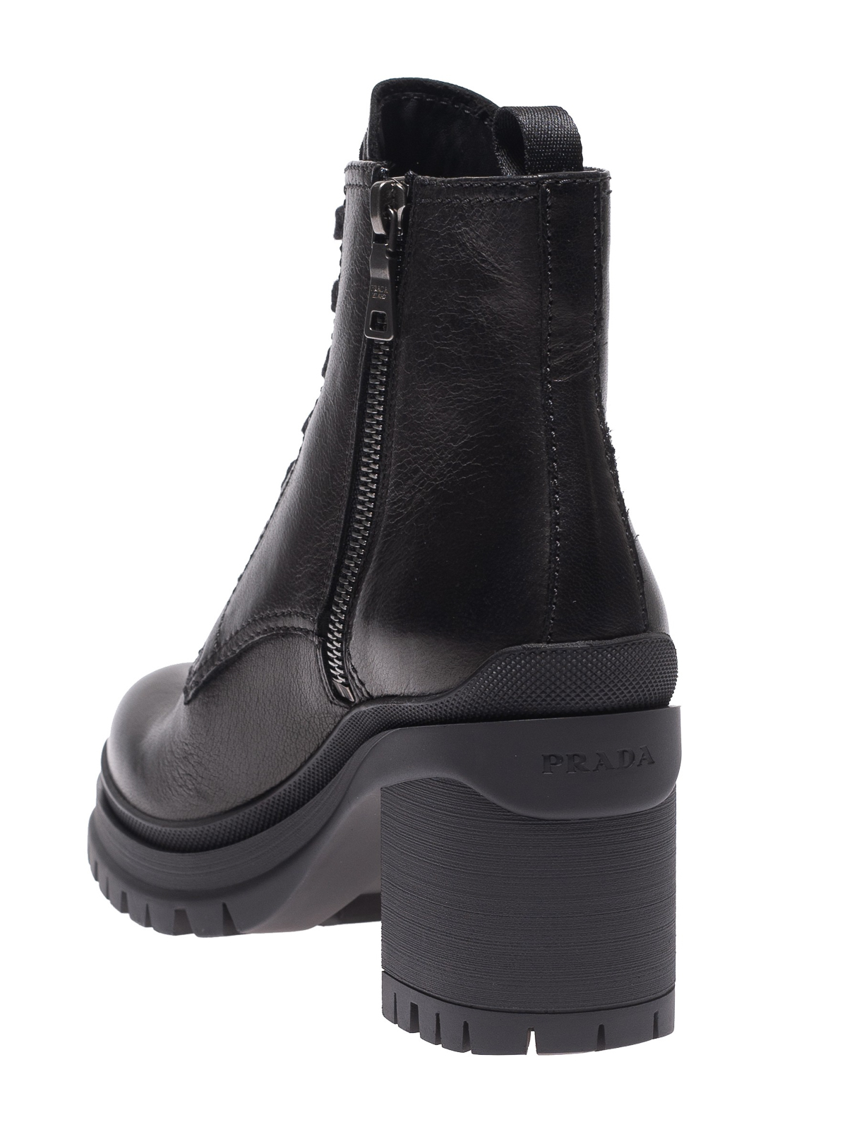 Black brushed lace up combat boots