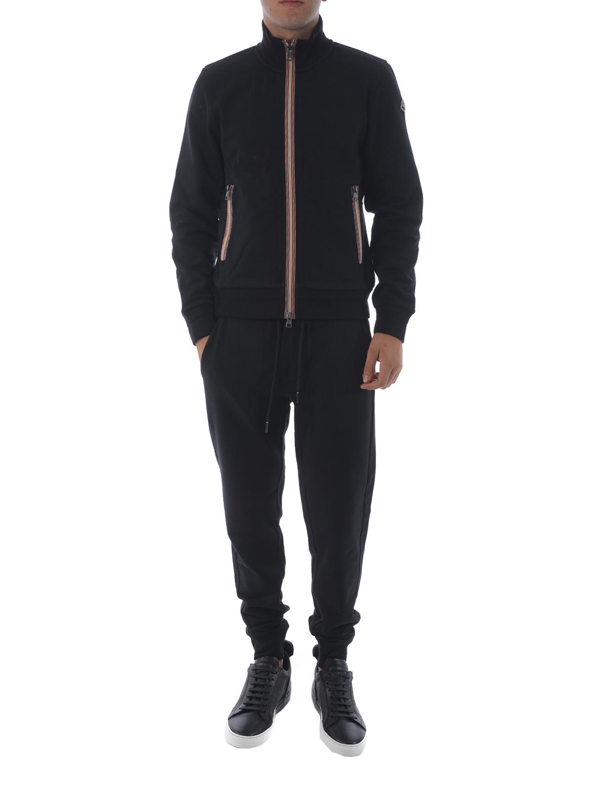 Black cotton fleece track pants shop online: MONCLER