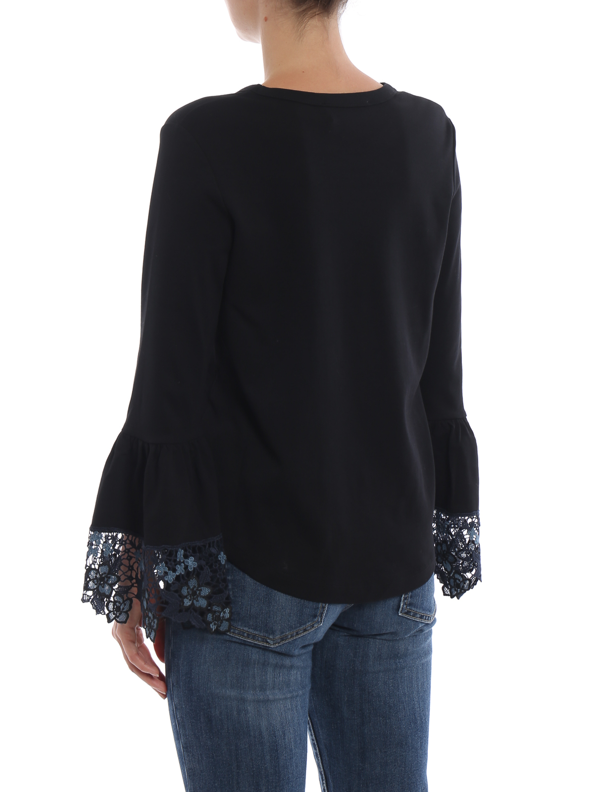 f91accef See by Chloé - Black cotton Tee with lace bell cuffs - t-shirts ...