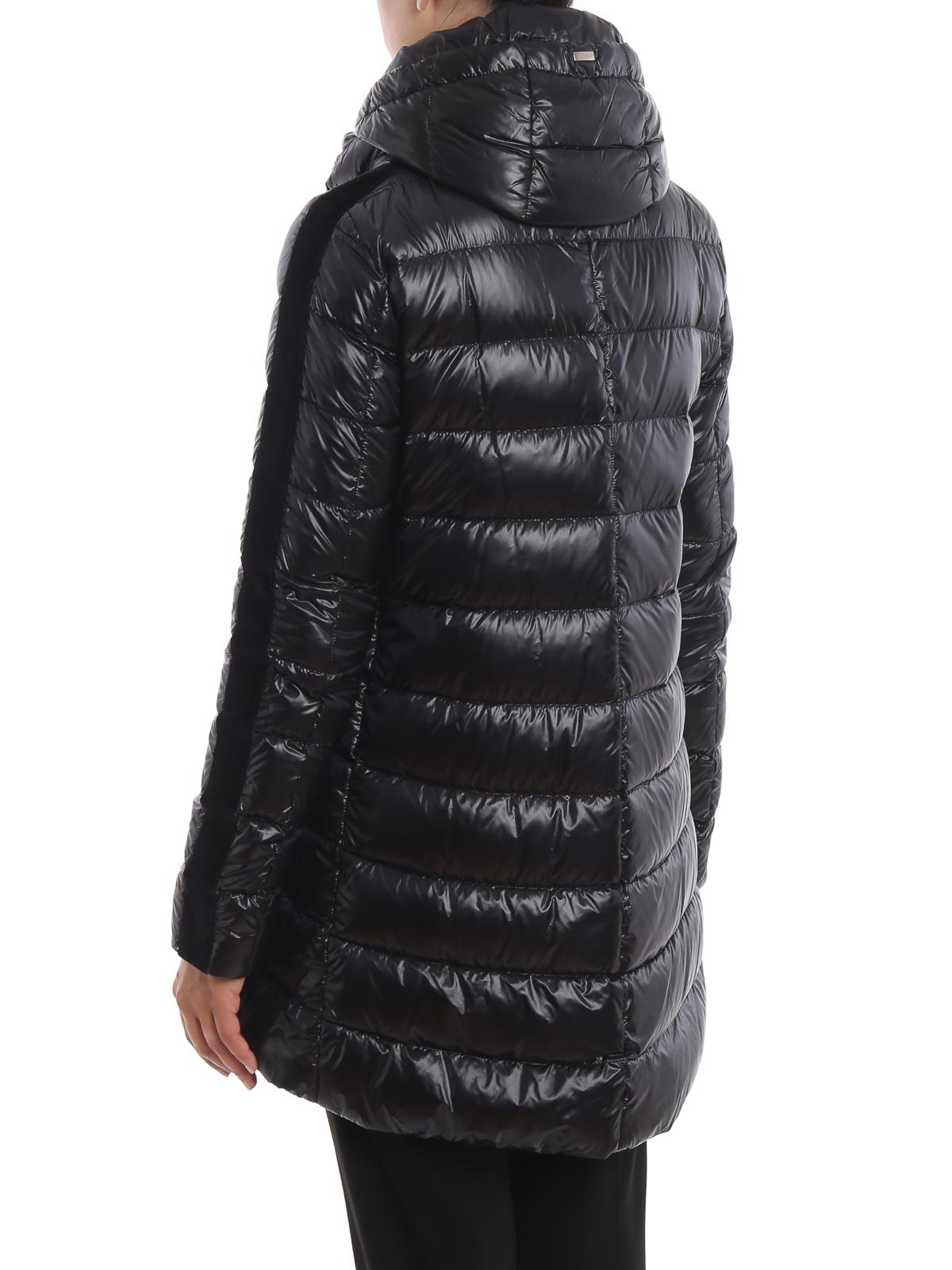 buy online bc895 10e5f Herno - Piumino svasato nero con bande in velluto - cappotti ...