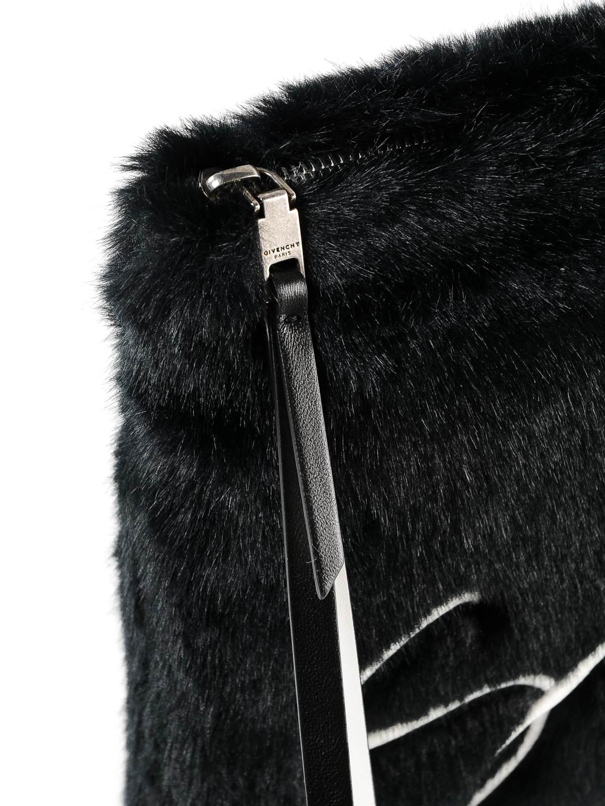 7c9c4e9977e2 Givenchy - Black faux fur clutch - clutches - BB6045B0AH 001