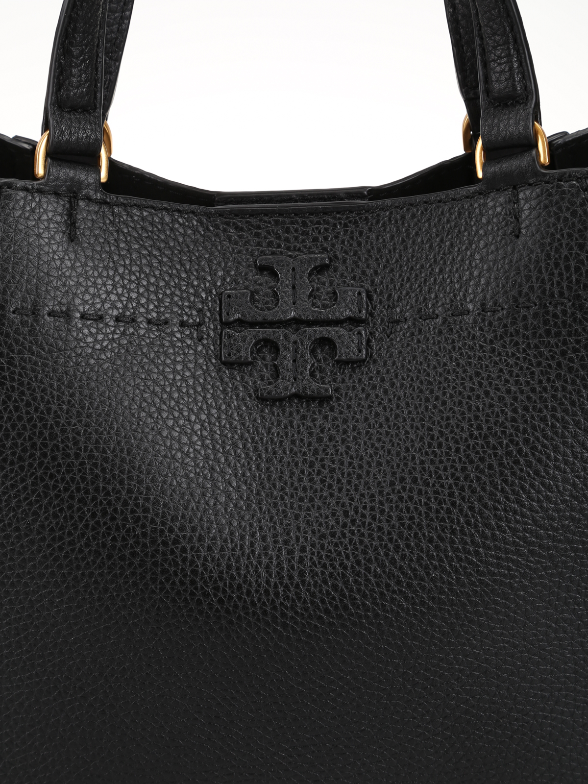 8019e6fae4644 Tory Burch - Black leather small McGraw carryall - totes bags ...