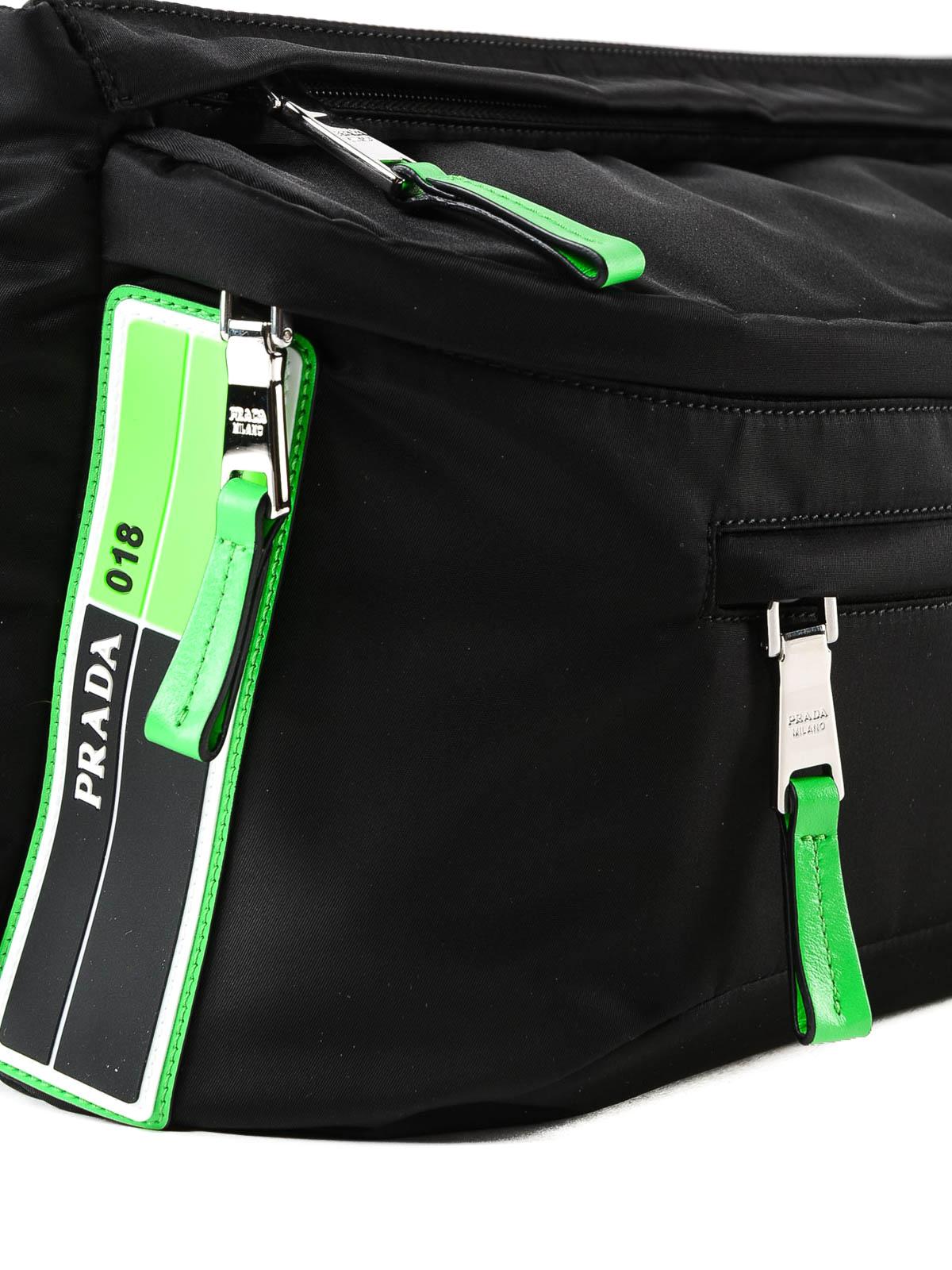 69dc3843af57 Prada - Black nylon and fluo green logo belt bag - belt bags ...