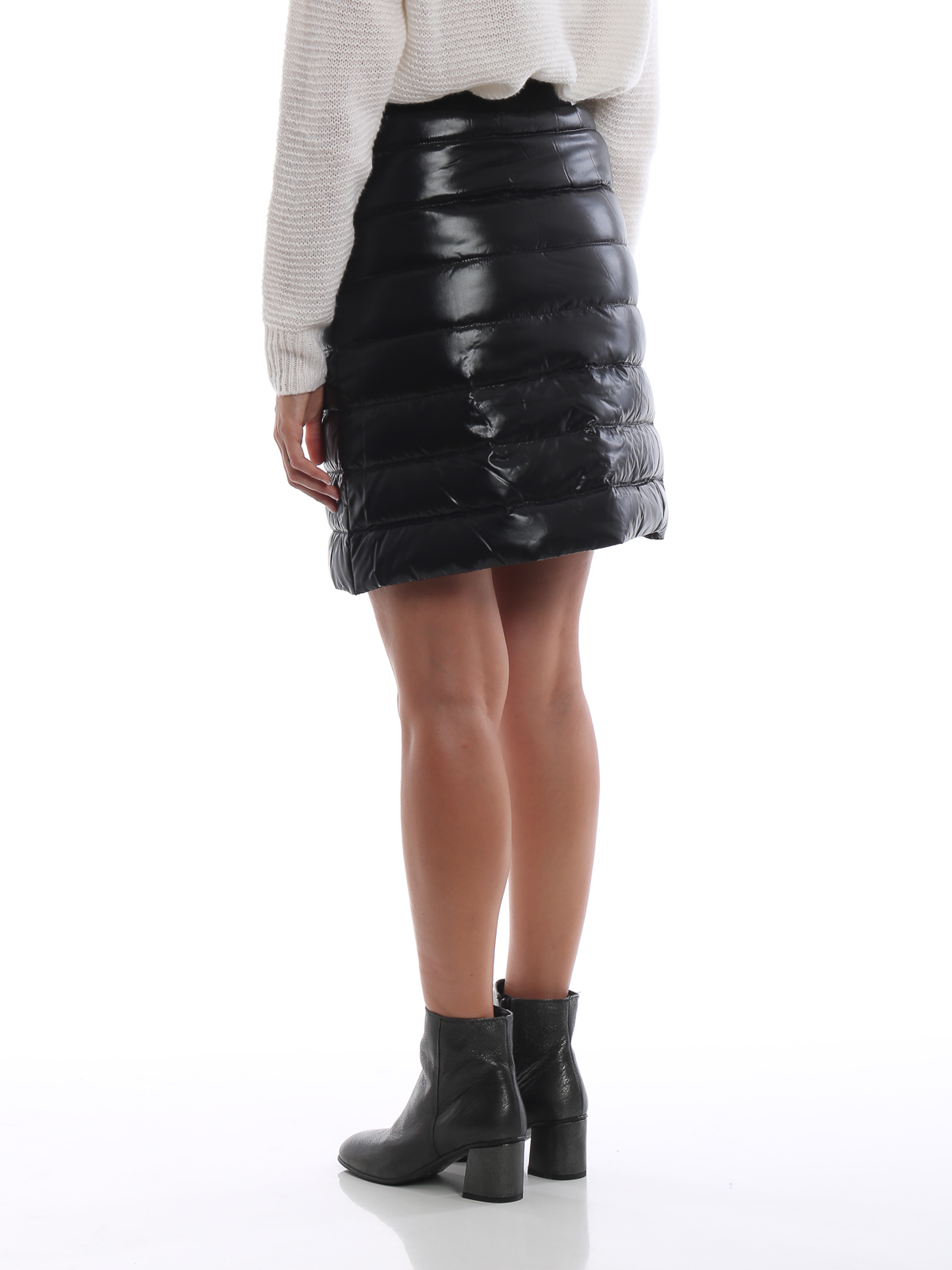 Black patent puffer mini skirt shop online: MONCLER