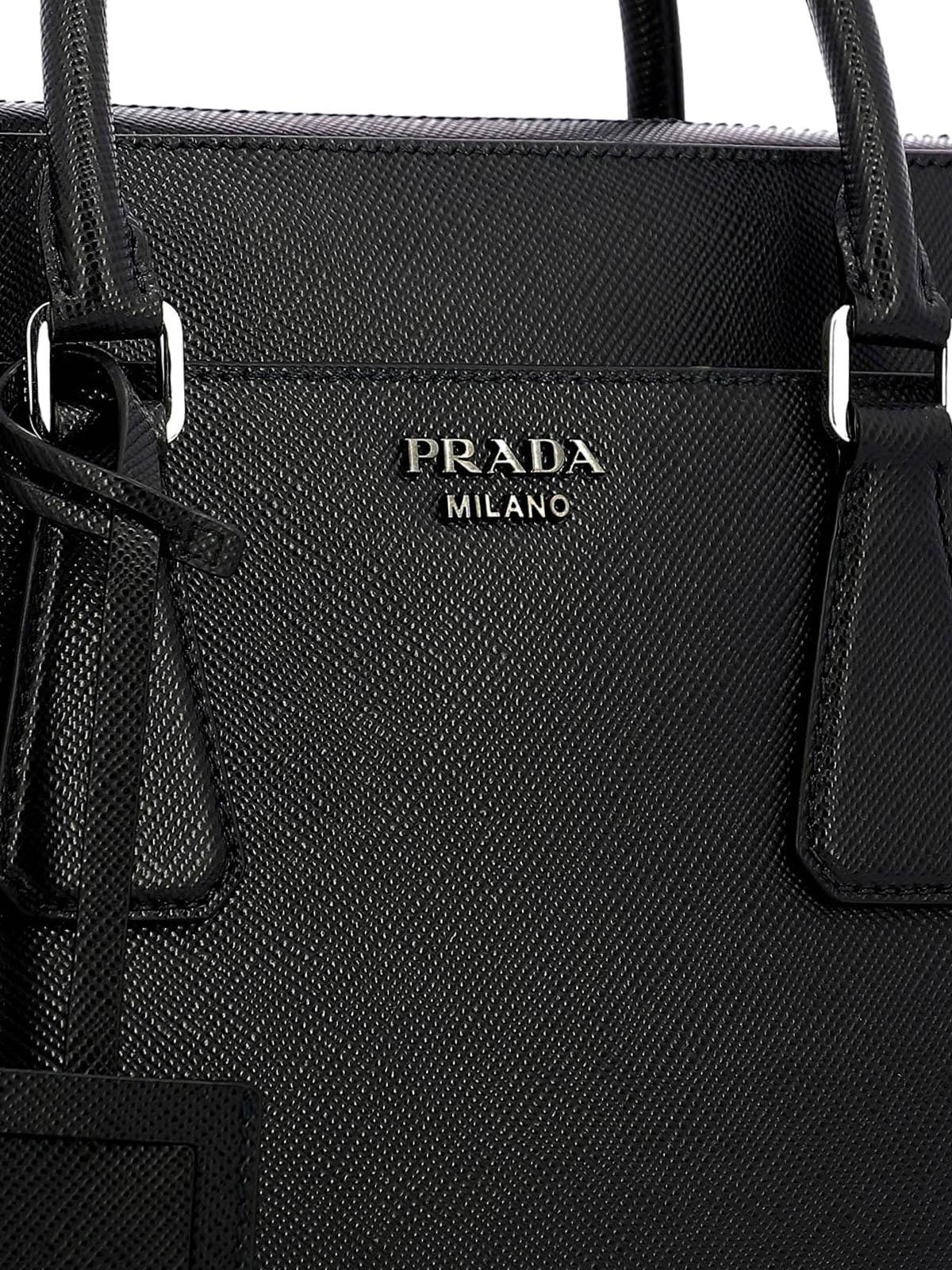 3ae5aa800421 Prada - Black saffiano leather briefcase - laptop bags   briefcases ...