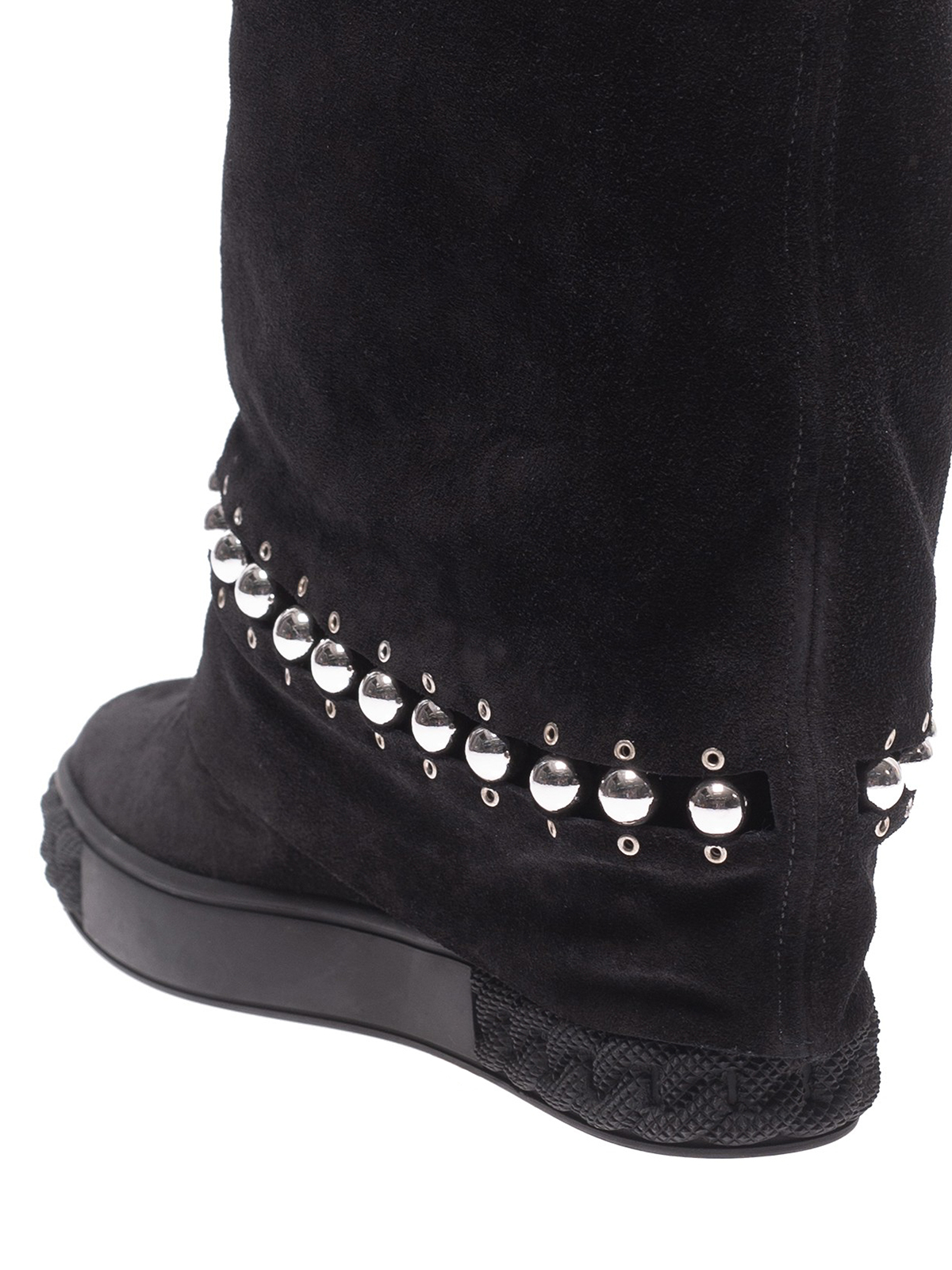 Casadei - Black suede embellished sneaker sole booties - ankle boots ... 46144c88f3c