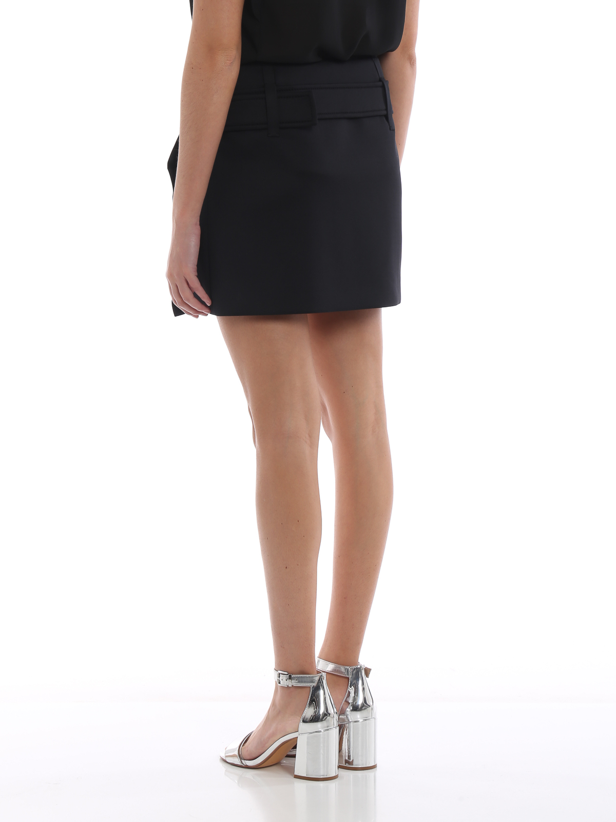 ab4e3b833 Prada - Black tech jersey belted mini skirt - mini skirts - P157OH ...