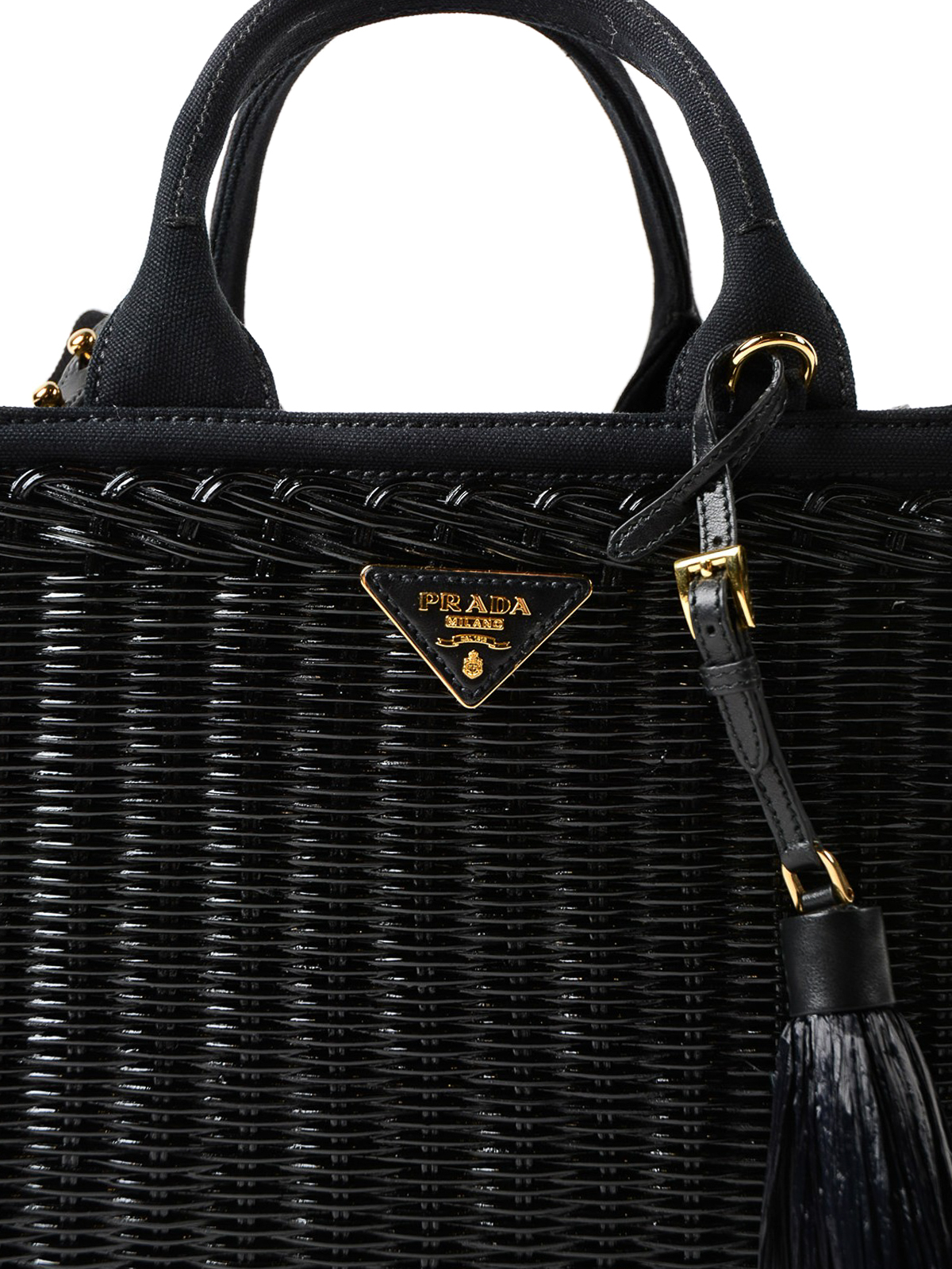 87f1e4387aa5 ... netherlands black wicker and hemp small tote shop online prada 9cb7e  5151e