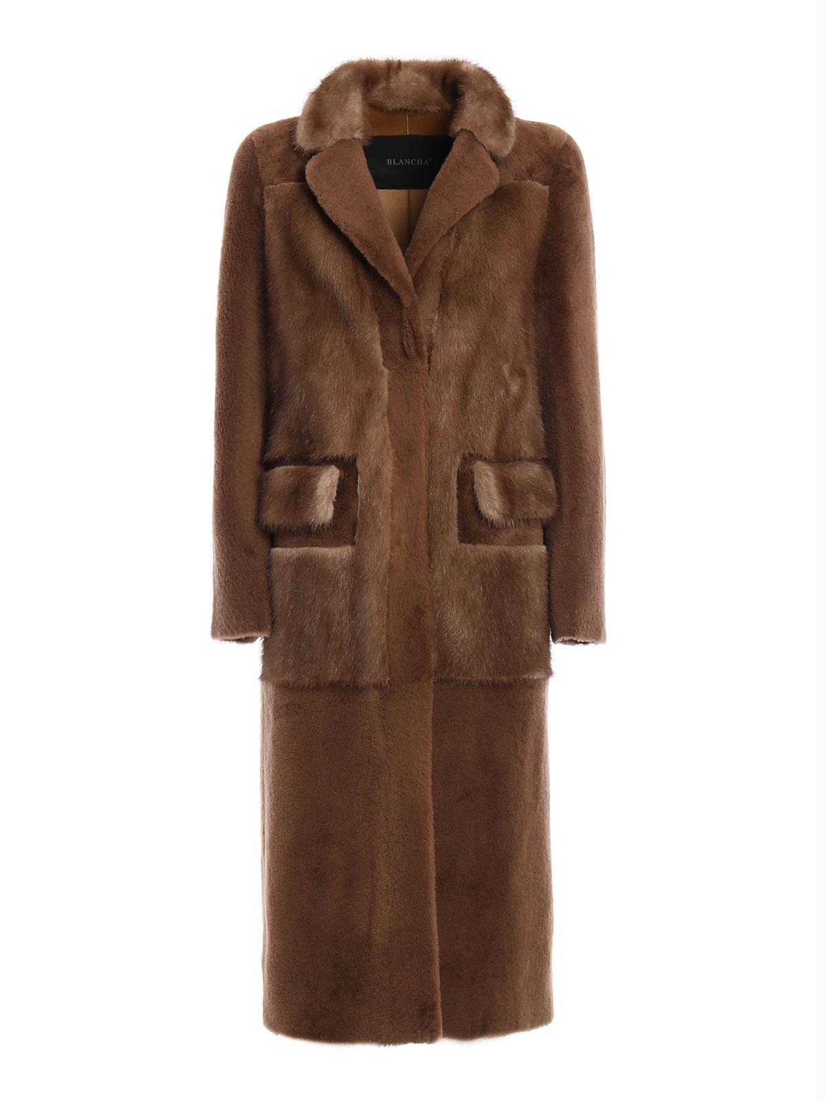 Mink detailed merinos fur long coat by Blancha - Fur & Shearling ...