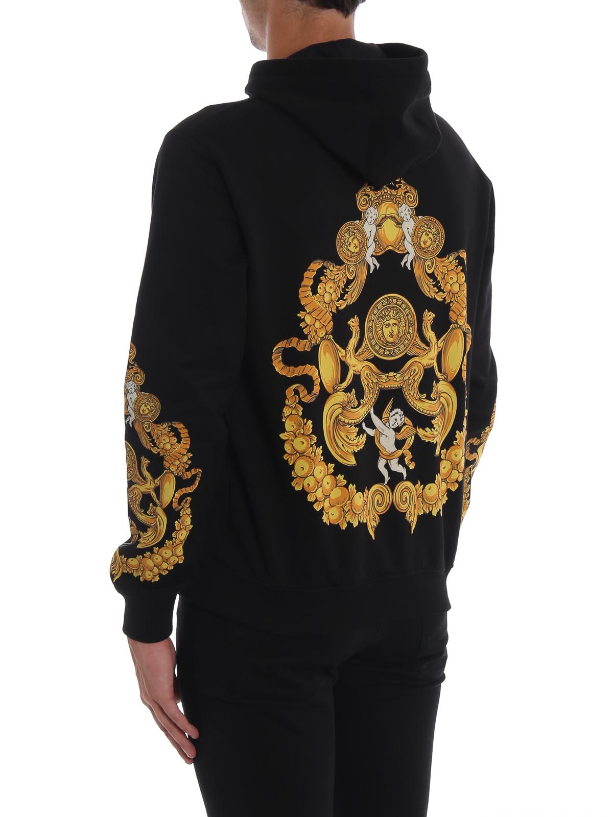 fb58dc7173 Versace - Blasone Barocco print cotton hoodie - Sweatshirts ...