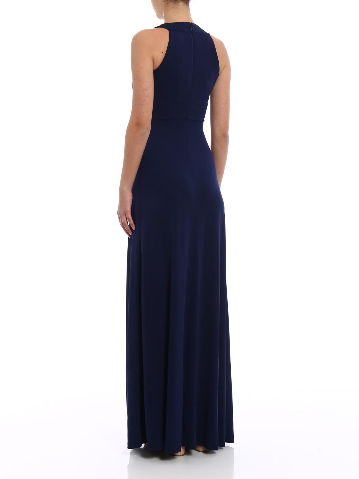f3430e07bc Michael Kors - Abito lungo blu con drappeggio - abiti lunghi ...