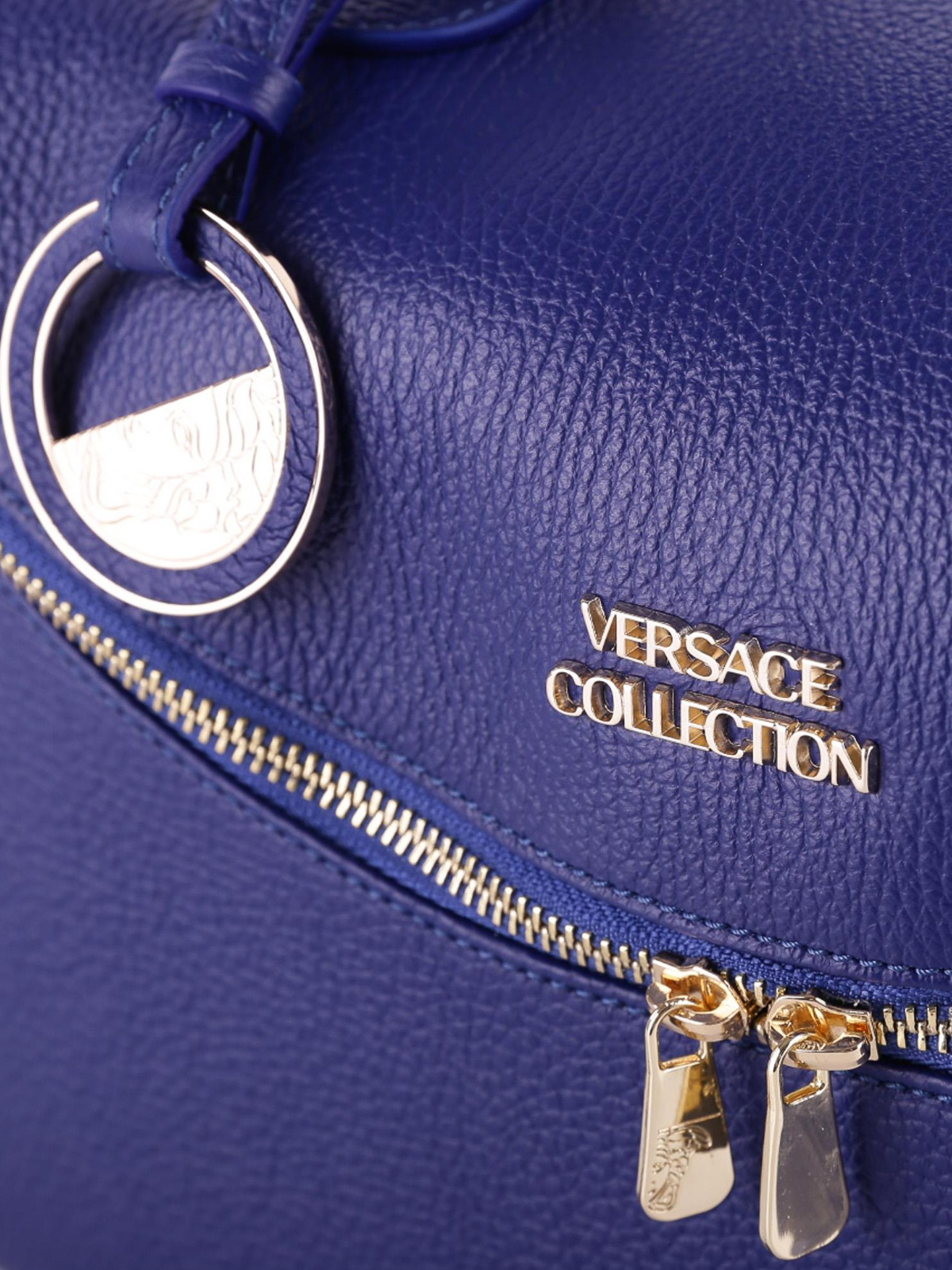 b561beba6229 Versace Collection - Blue hammered leather bowling bag - bowling ...