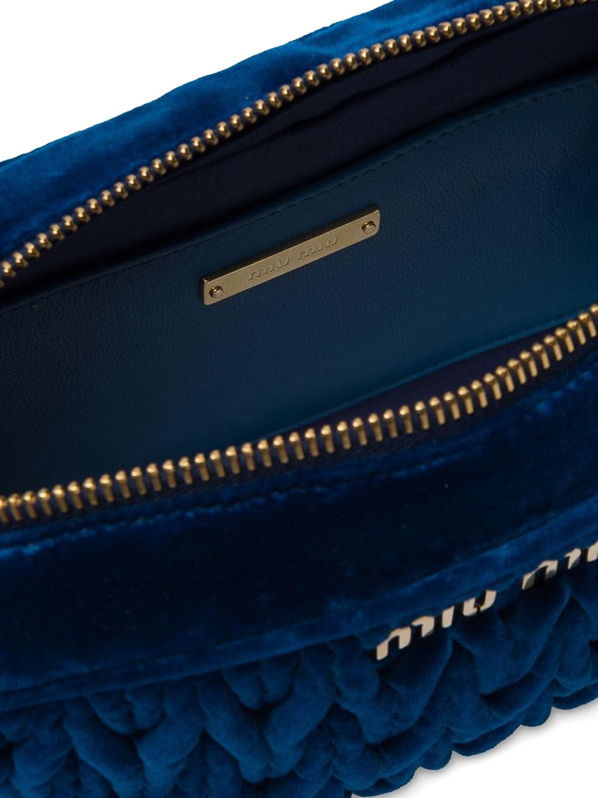 Blue matelassé velvet camera bag shop online  MIU MIU. MIU MIU  cross body  bags ... 65af5b1b8d965