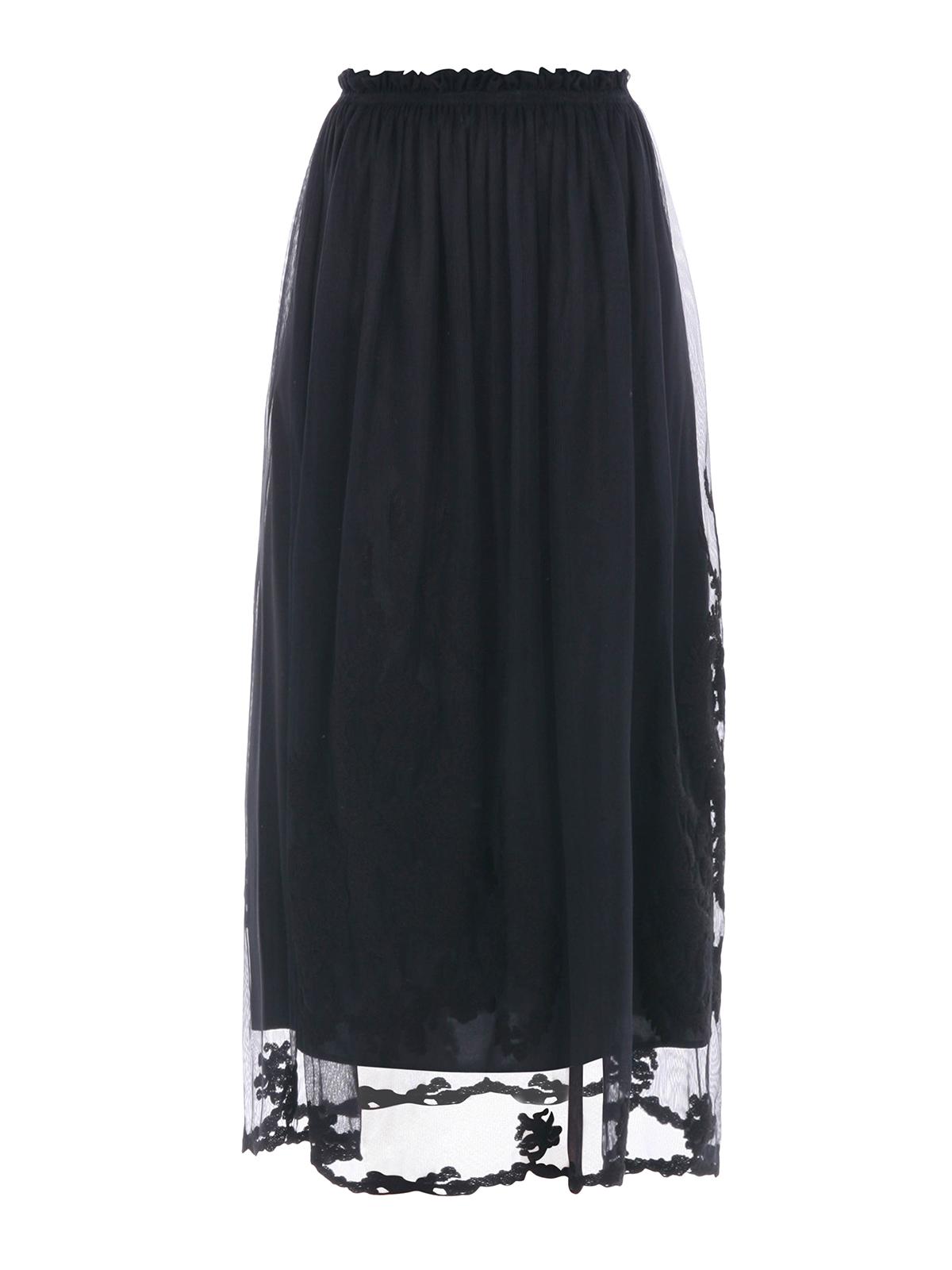 embroidered tulle midi skirt by blugirl knee length
