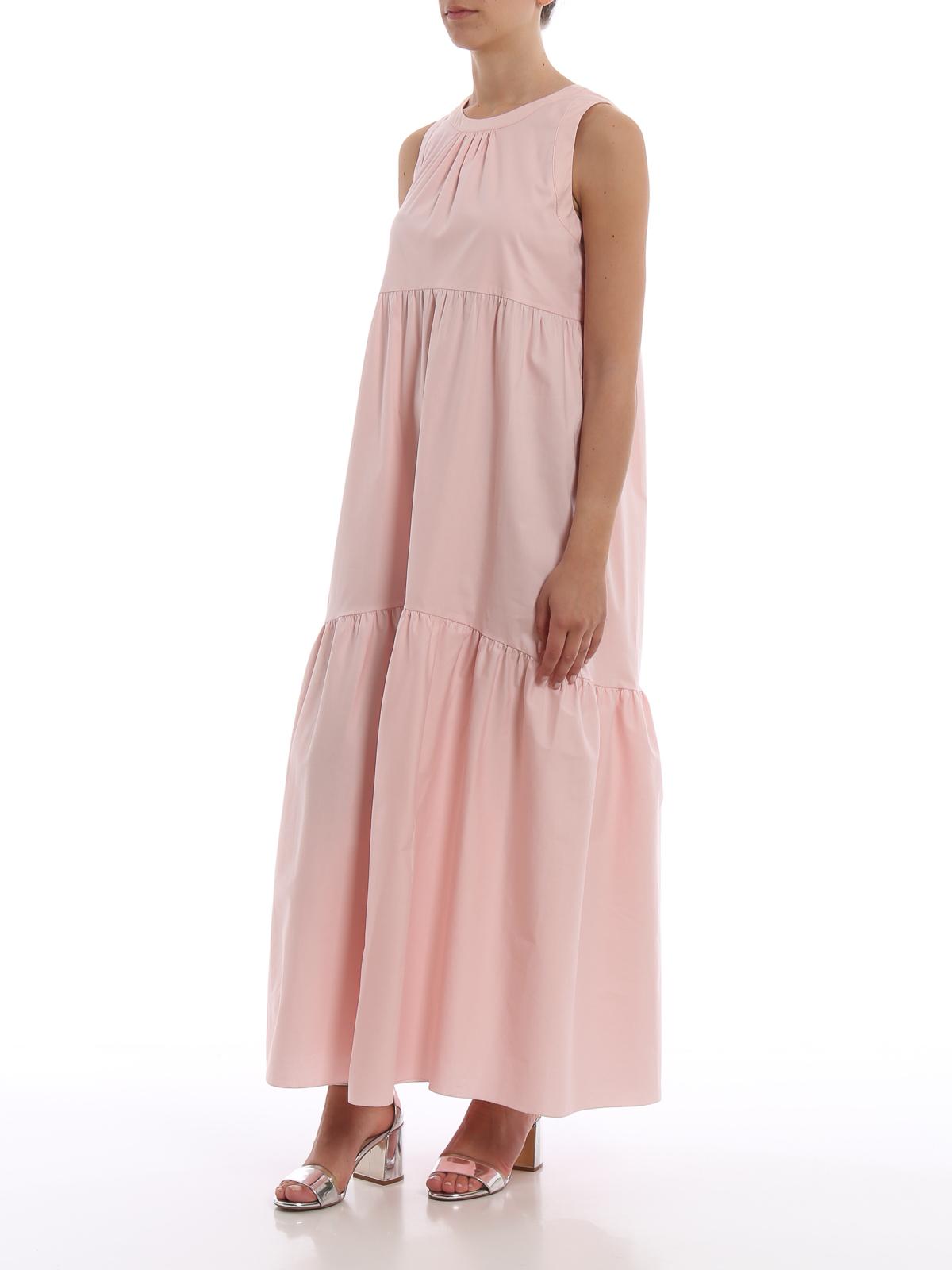 separation shoes 38af1 240e8 Blugirl - Abito maxi in cotone stretch rosa con balze ...