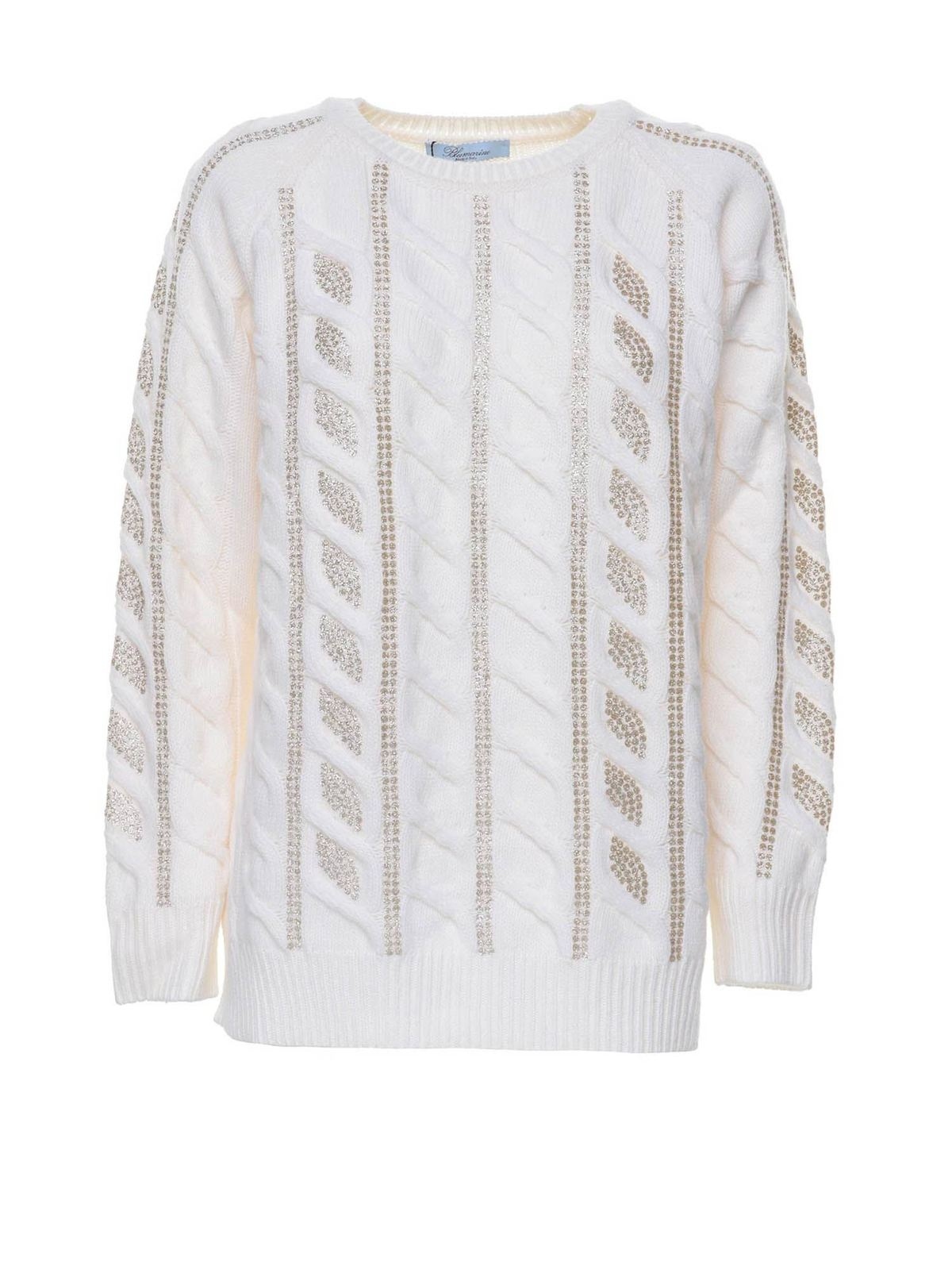 Blumarine LAME DETAILED SWEATER IN WHITE