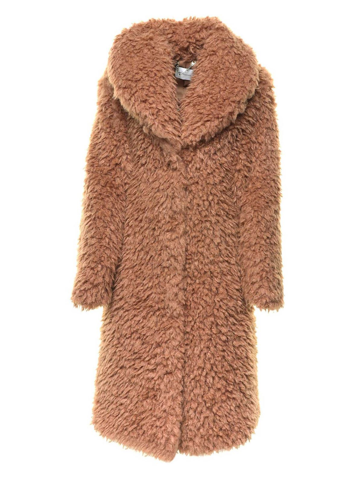 Blumarine TEDDY-EFFECT COAT IN CAMEL COLOR