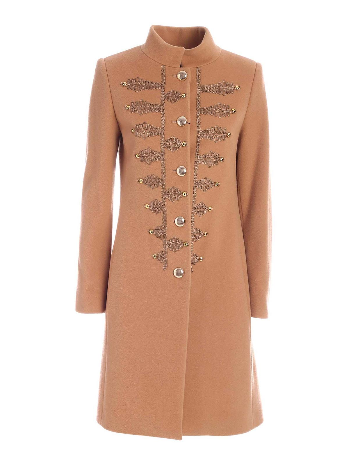 Blumarine CONTRASTING EMBROIDERY COAT IN CAMEL COLOR