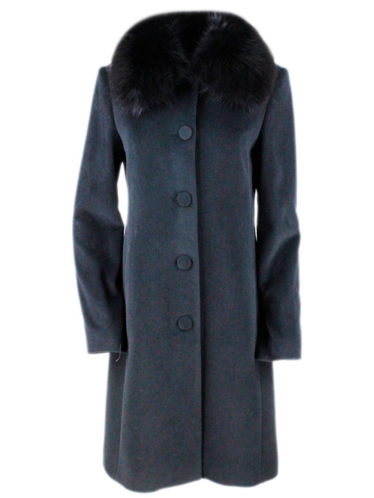 Blumarine FOX FUR COAT IN BLACK