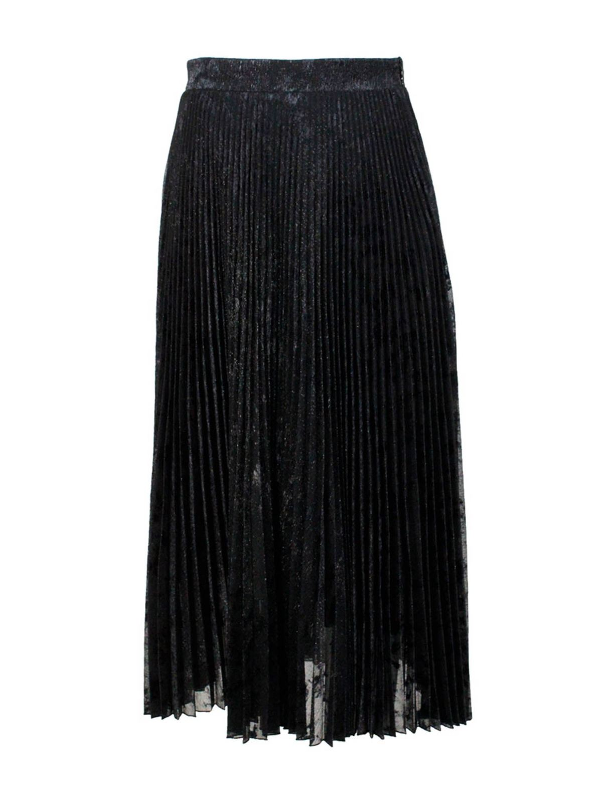 Blumarine MIDI PILSSE LAME SKIRT IN BLACK