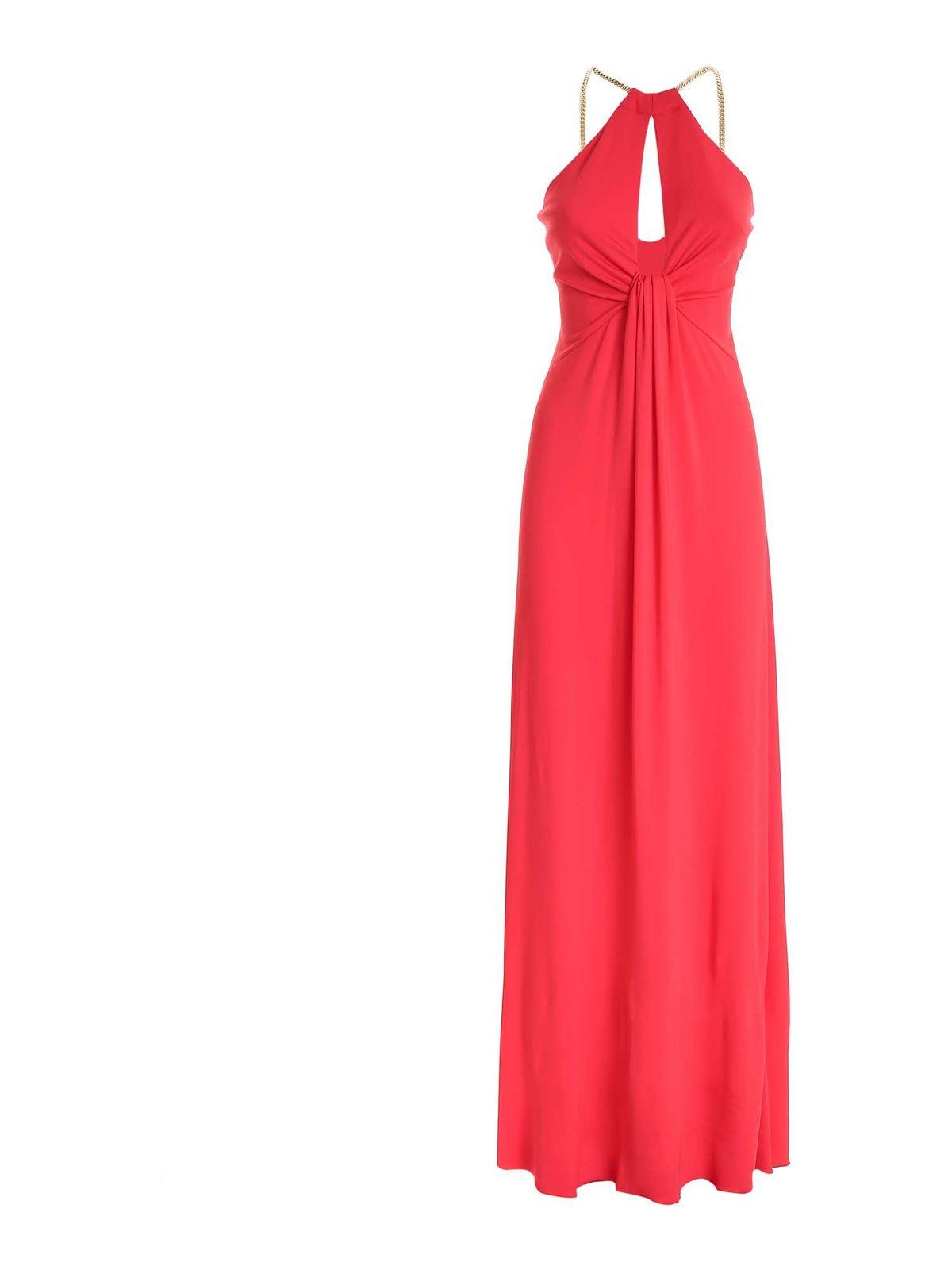Blumarine CHAIN DETAIL DRESS IN CORAL RED
