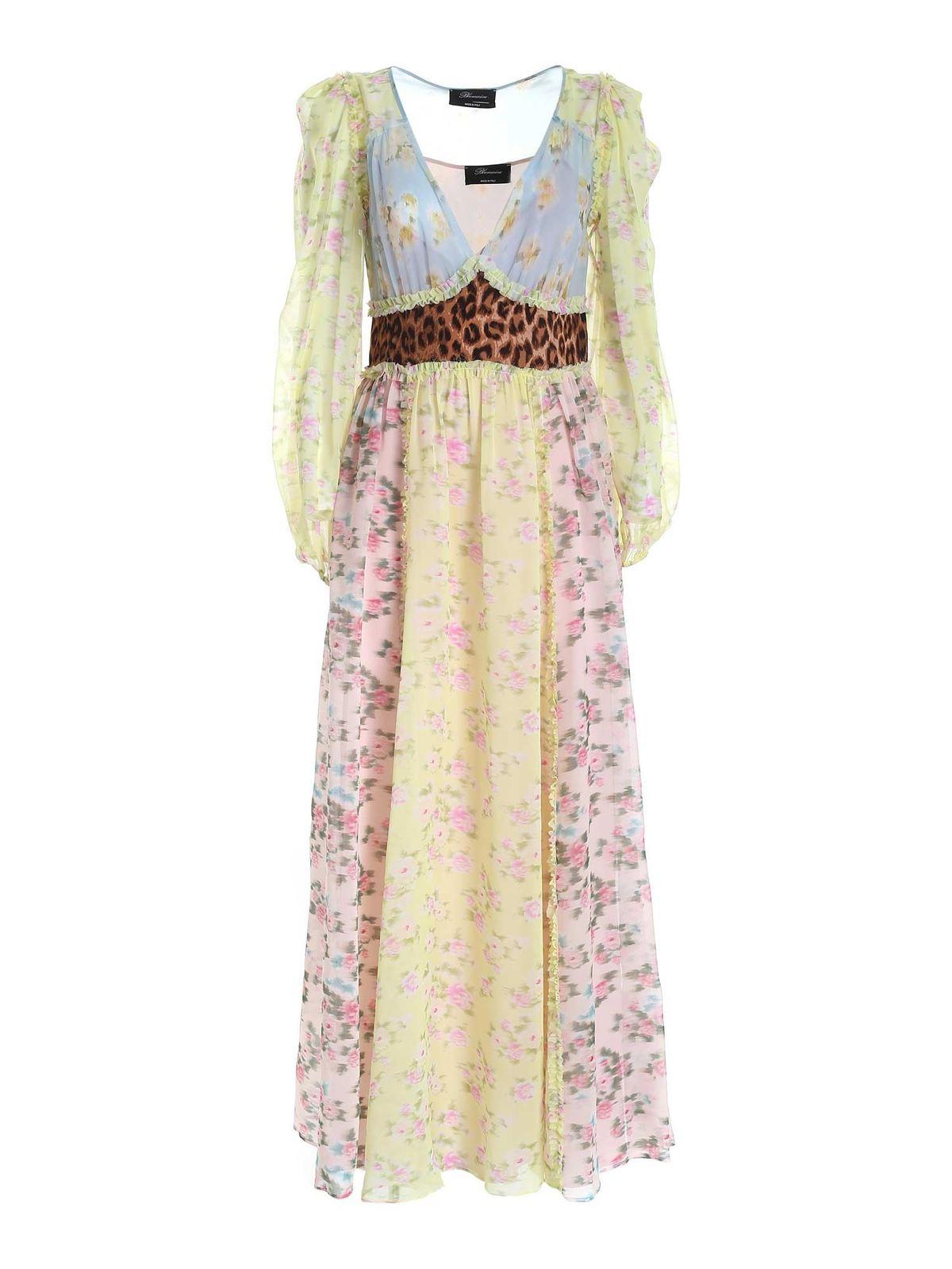 Blumarine Silks FLORAL PATTERN MULTICOLOR LONG DRESS