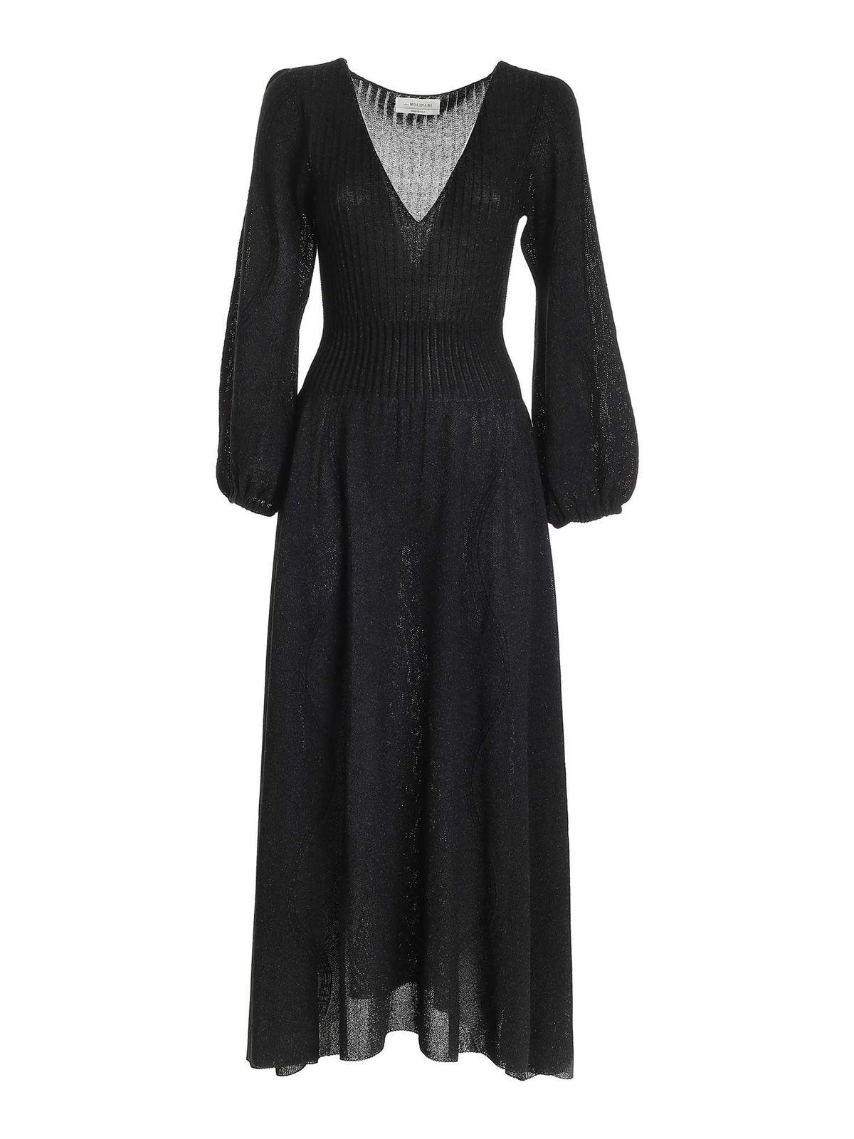 Blumarine LAME LONG DRESS IN BLACK