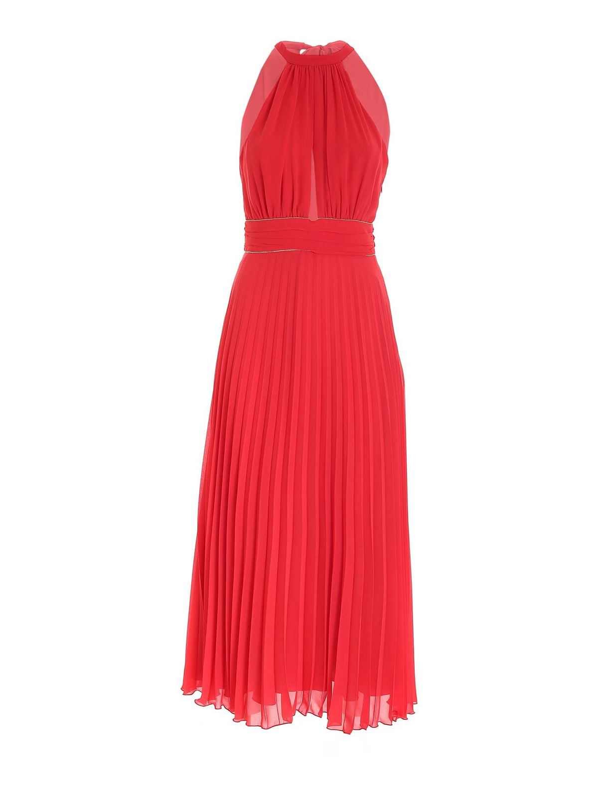 Blumarine PLEATED DRESS IN CORAL RED