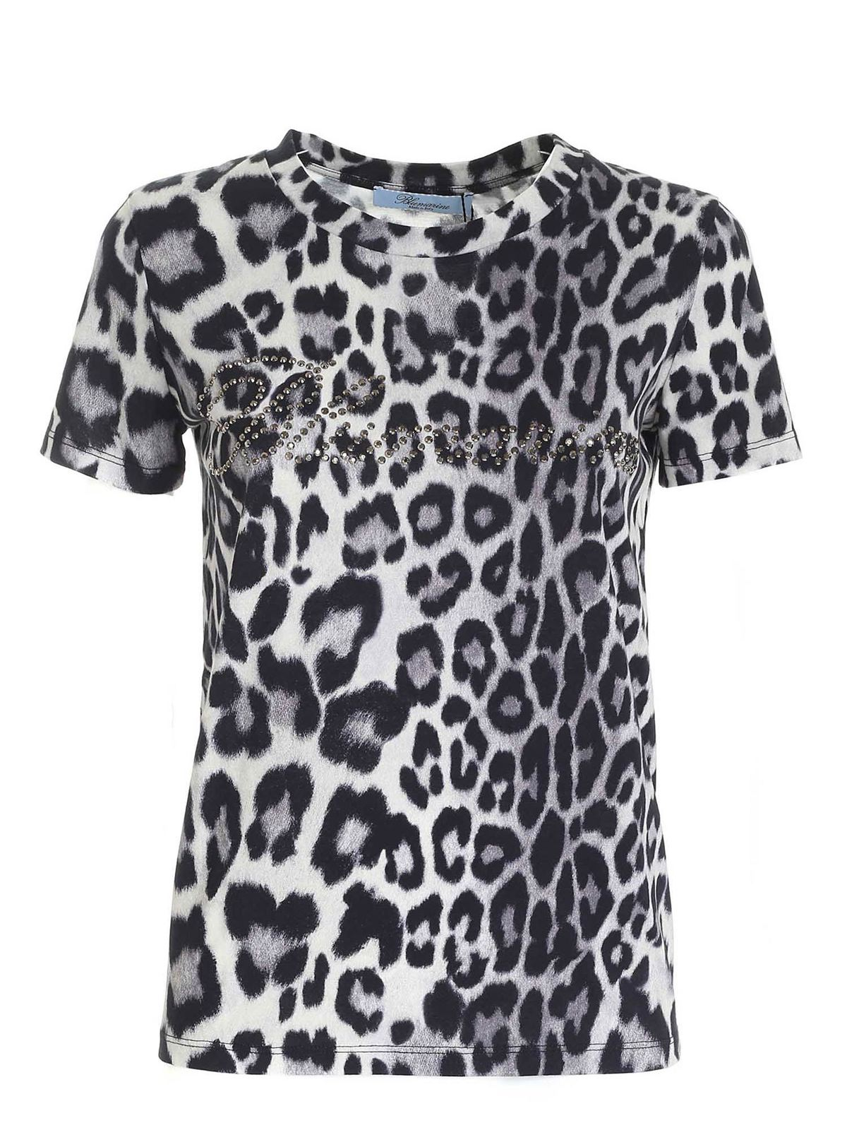 Blumarine ANIMAL PRINT T-SHIRT FEATURING RHINESTONE LOG