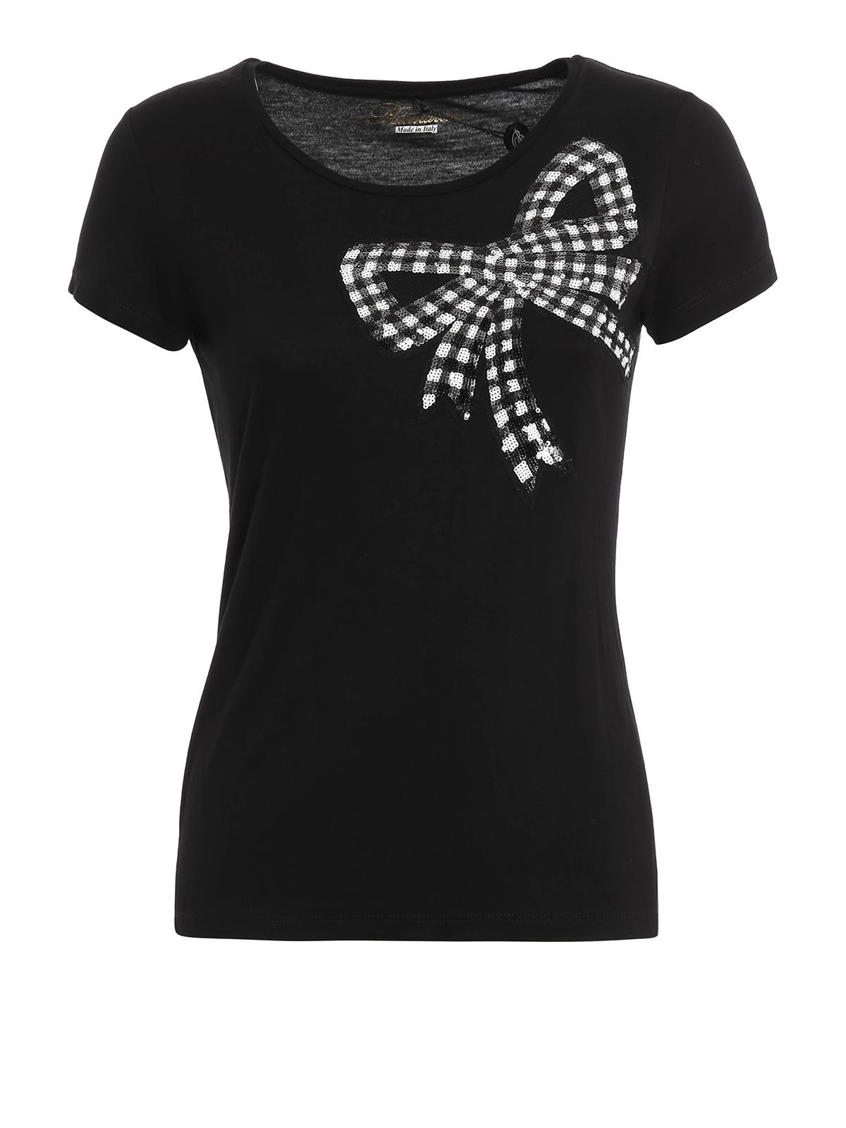 sequin bow t shirt by blumarine t shirts ikrix. Black Bedroom Furniture Sets. Home Design Ideas