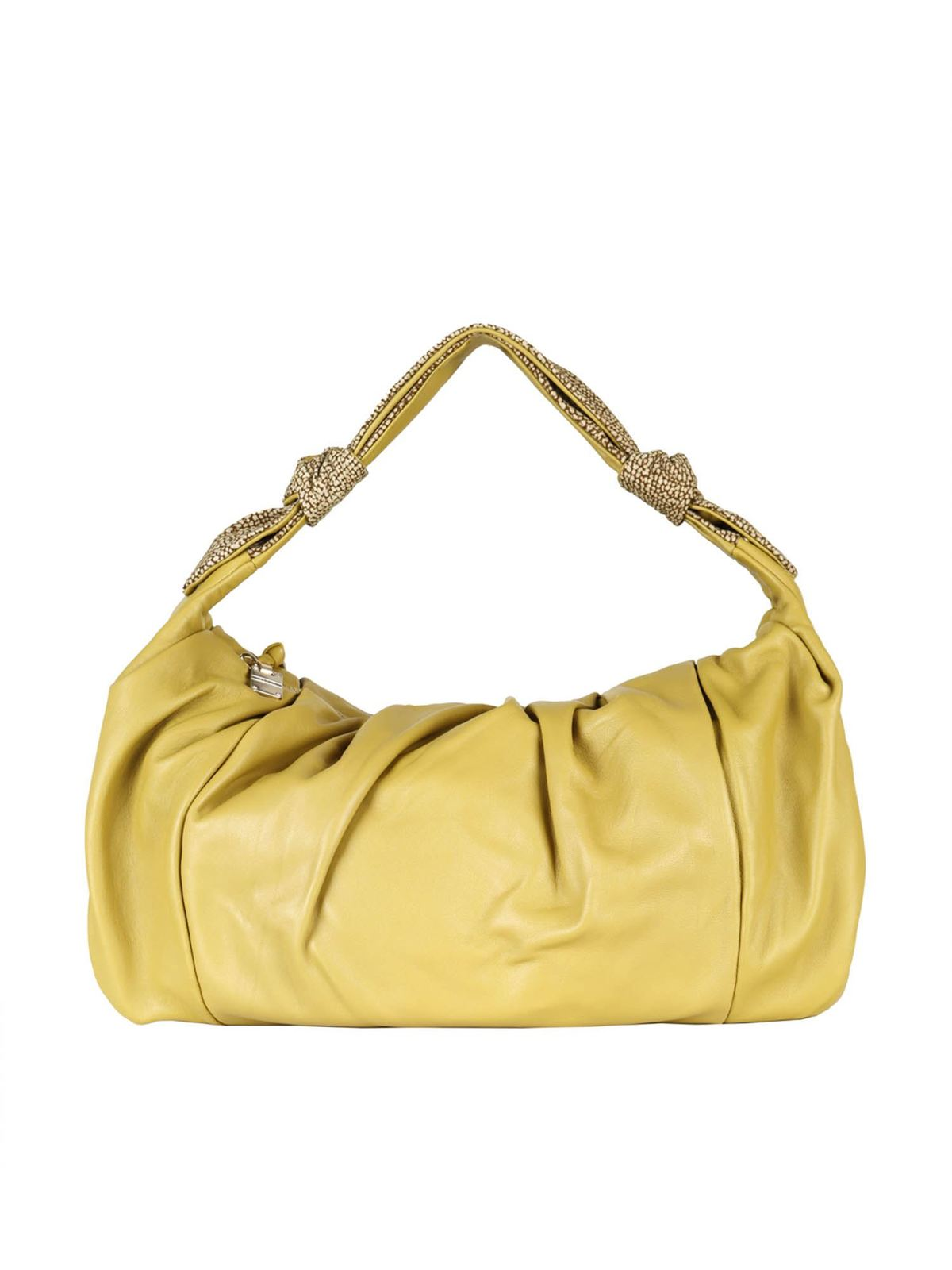 Borbonese MEDIUM DUNA BAG IN LIME COLOR