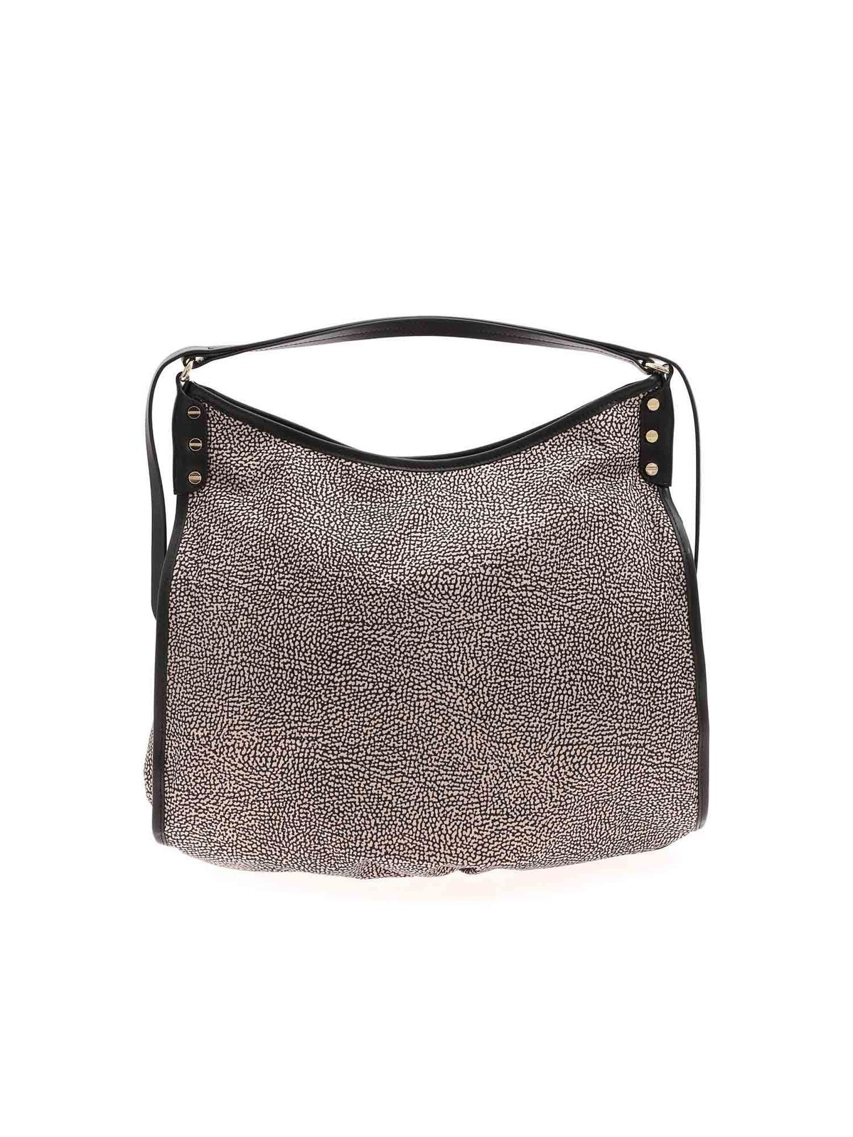 Borbonese OP PRINT SHOULDER BAG IN BLACK AND BEIGE