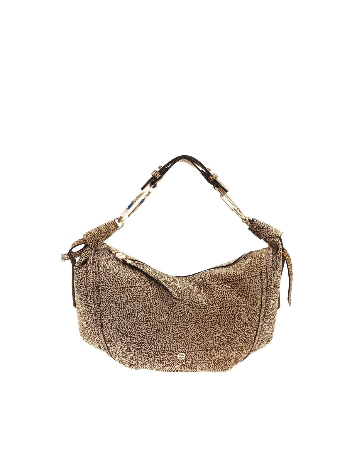 Borbonese OP PRINT SHOULDER BAG IN BROWN AND BEIGE