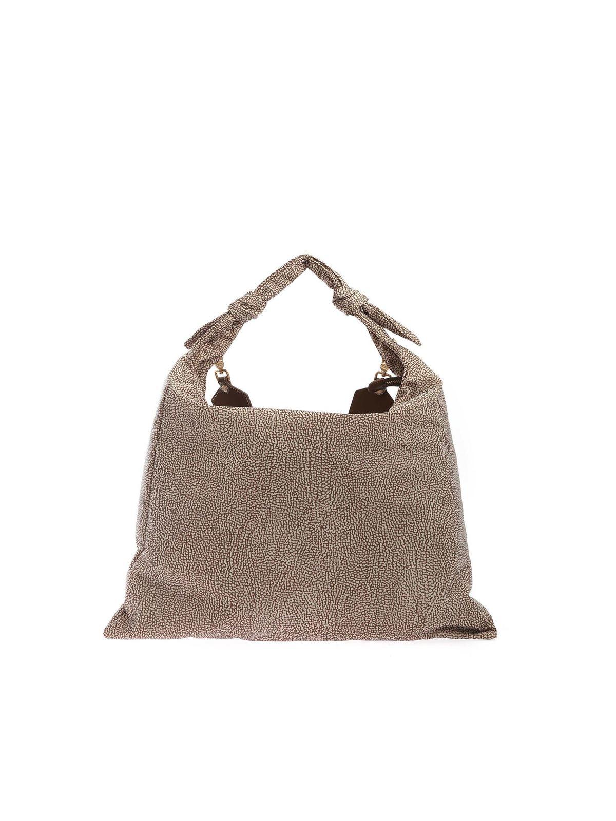 Borbonese Leathers PRINTED SHOULDER BAG IN BEIGE AND BROWN