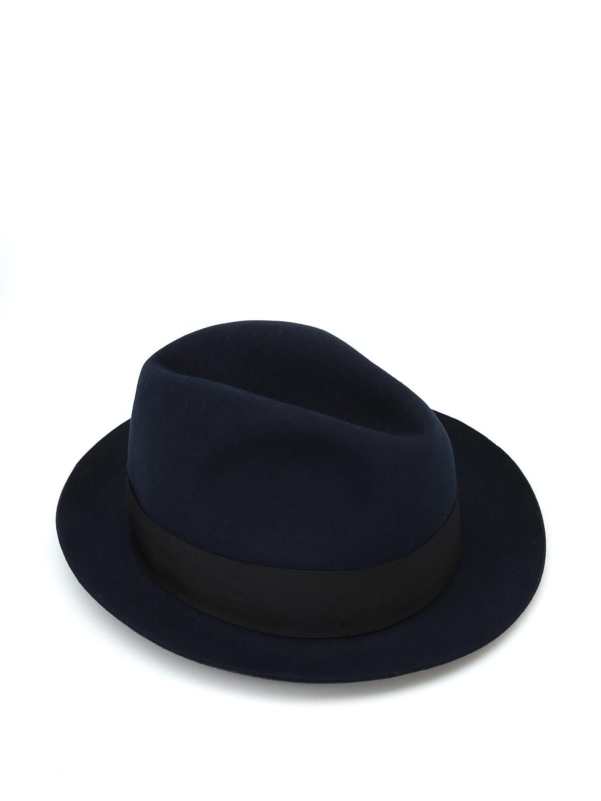 Borsalino - Alessandria grosgrain band blue felt hat - hats   caps ... 6320d3c594a