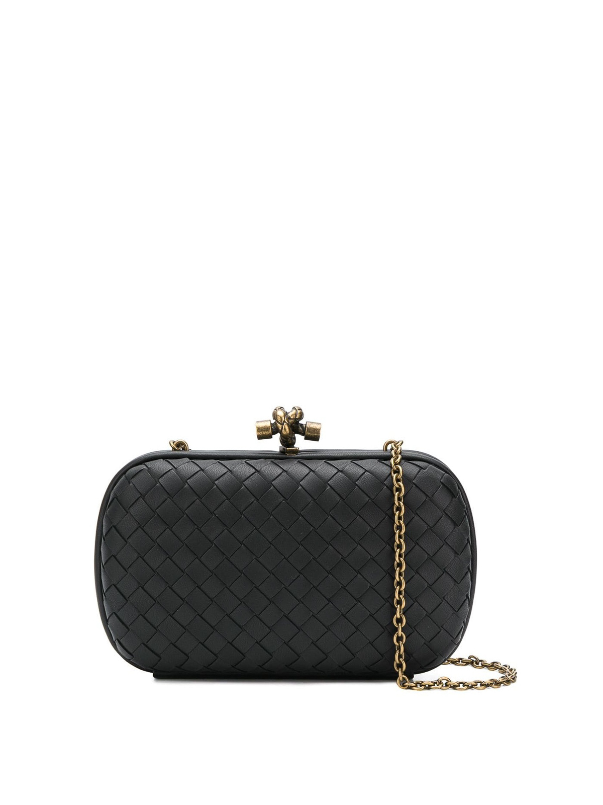 221cb2fdb012 Bottega Veneta - Chain Knot black woven lambskin clutch - clutches ...
