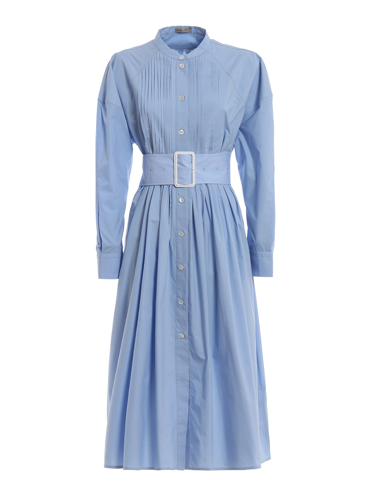 Bottega Veneta Cotton Shirt Dress With High Belt Knee
