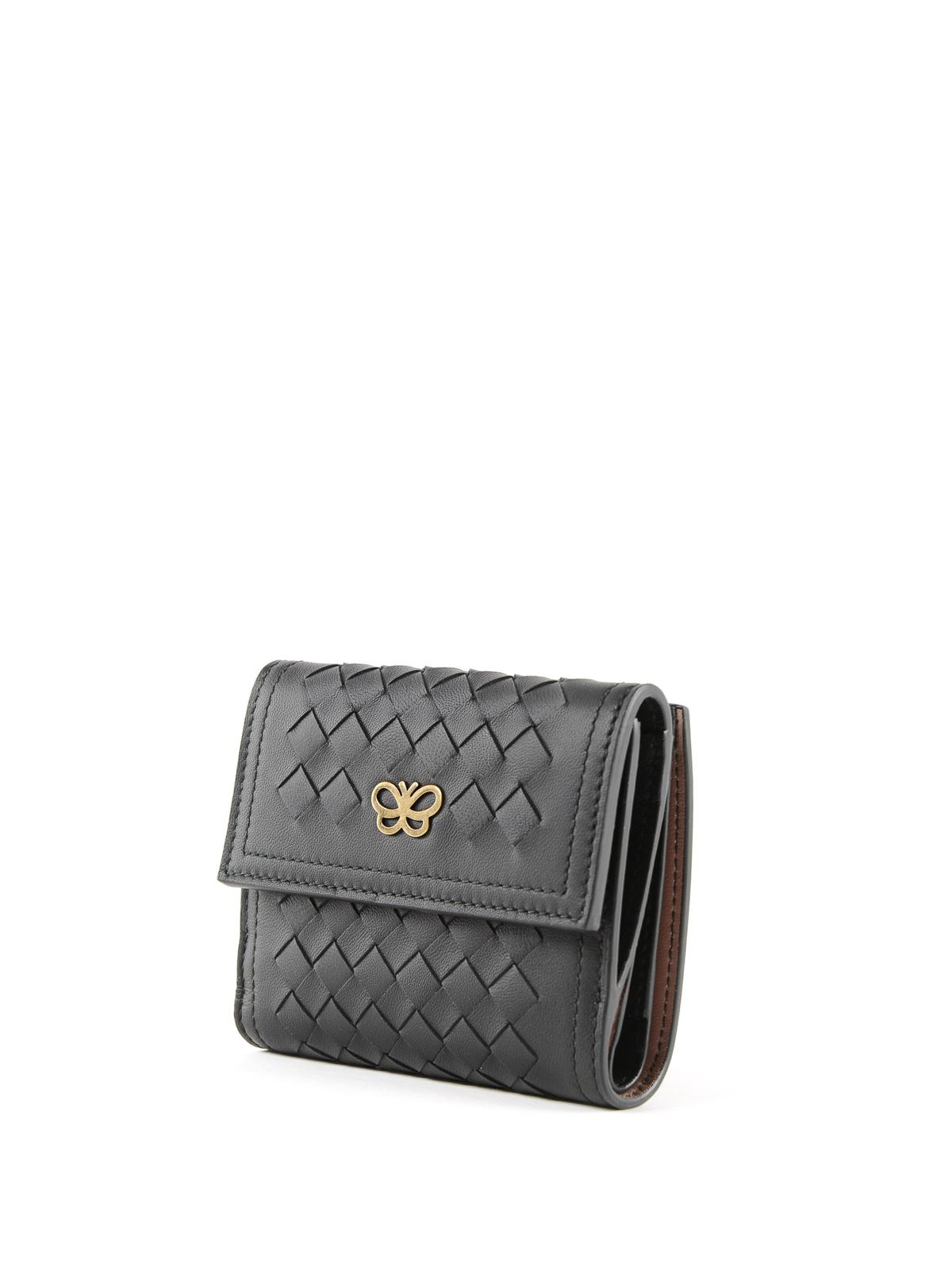 b54eae6441 BOTTEGA VENETA: portafogli online - Mini portafoglio nero in pelle  intrecciata