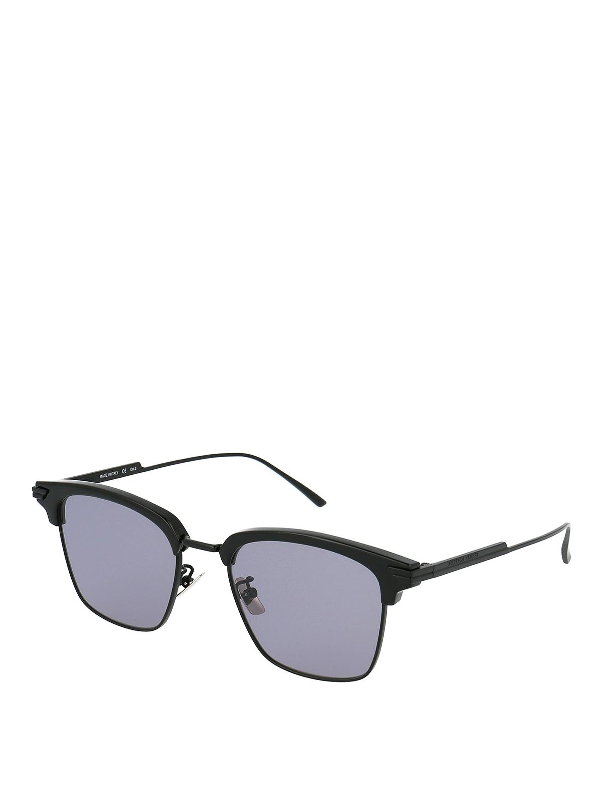 Bottega Veneta Black Half Frame Sunglasses