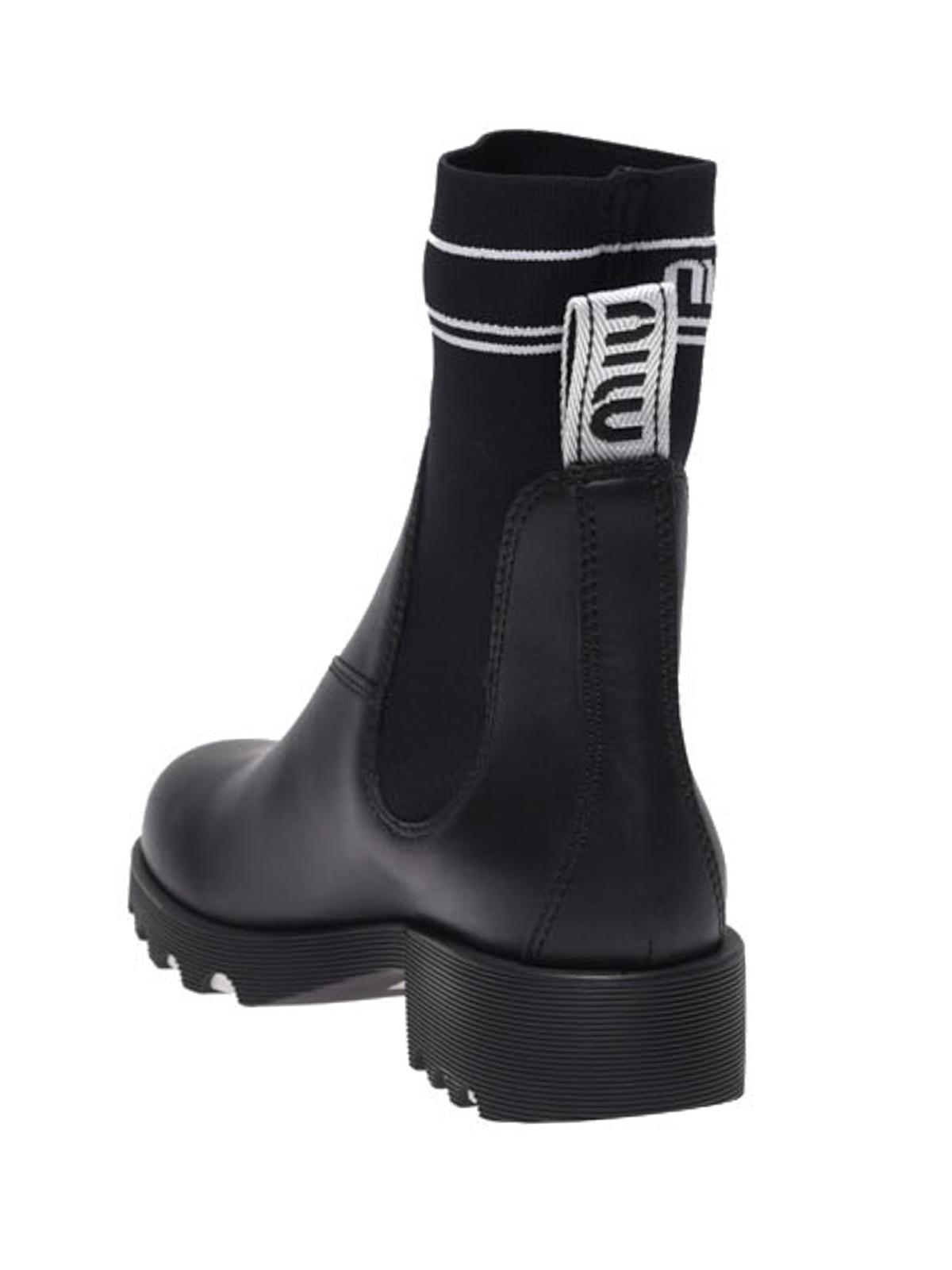 Miu Miu - Branded sock ankle boots