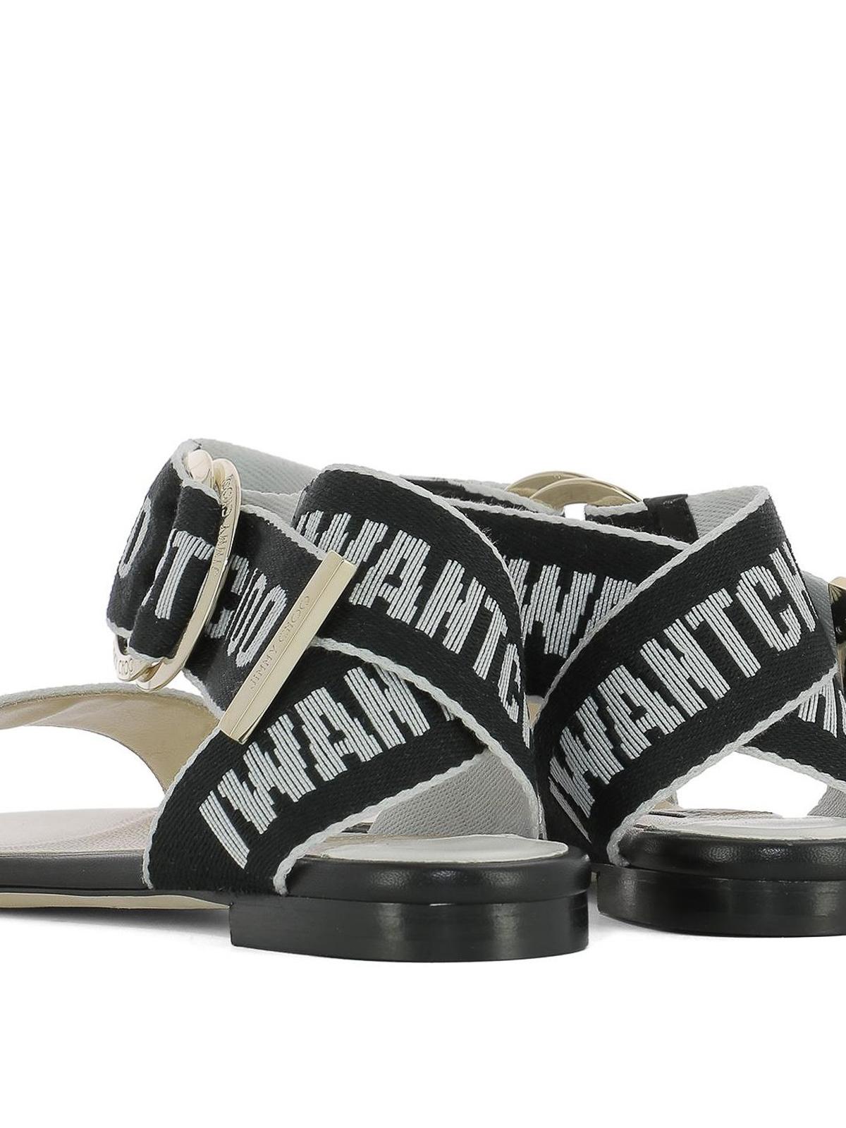 880e1139a43 Jimmy Choo - Breanne black and chalk logo tape sandals - sandals ...
