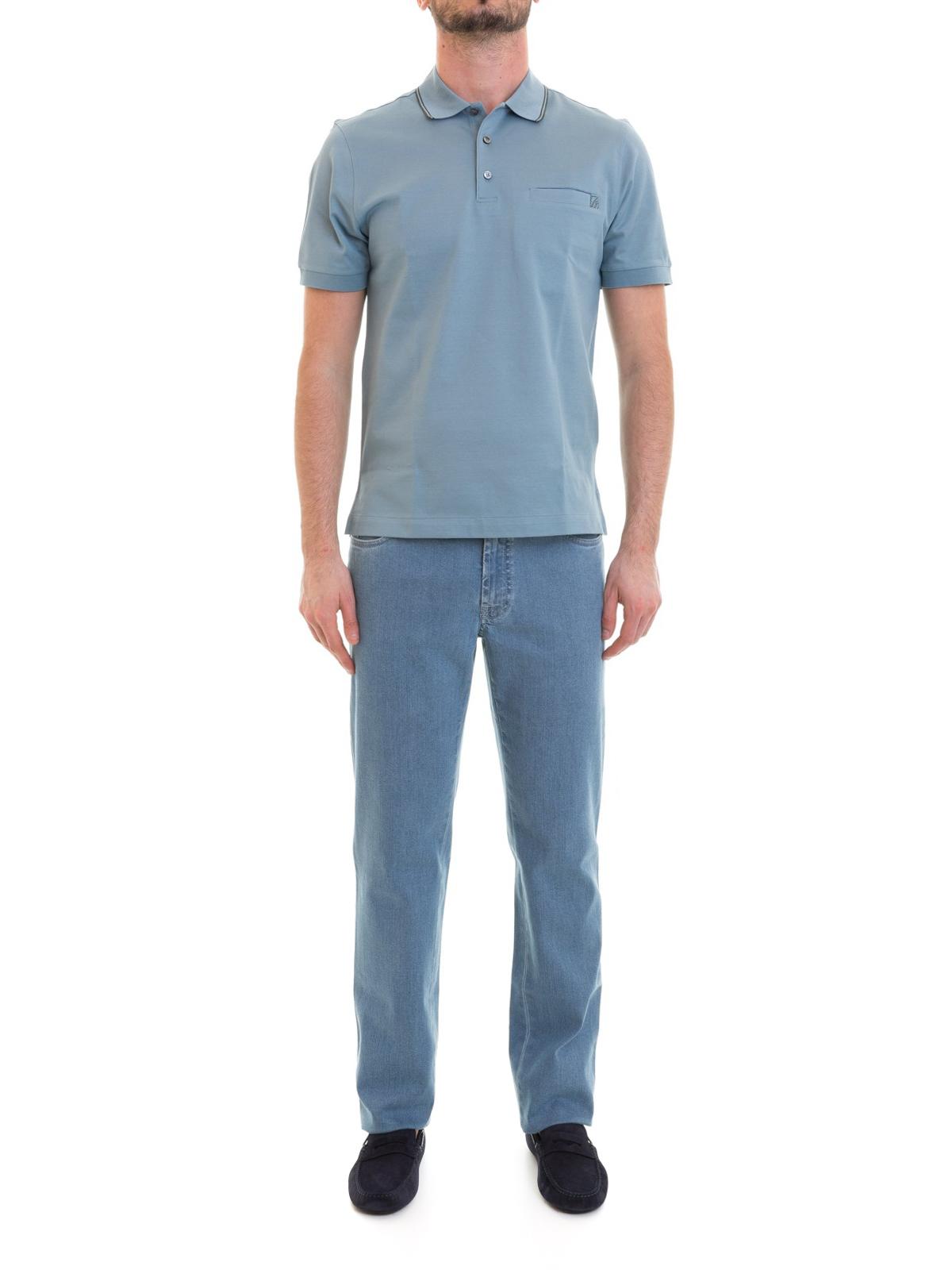 1c2aa6d2 BRIONI: polo shirts online - Chest pocket light blue cotton polo