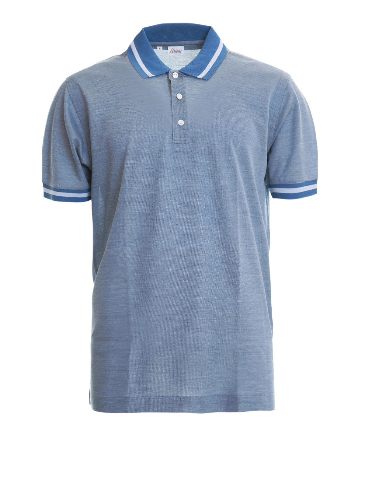 59531680 Brioni - Melange cotton and silk blend polo - polo shirts ...