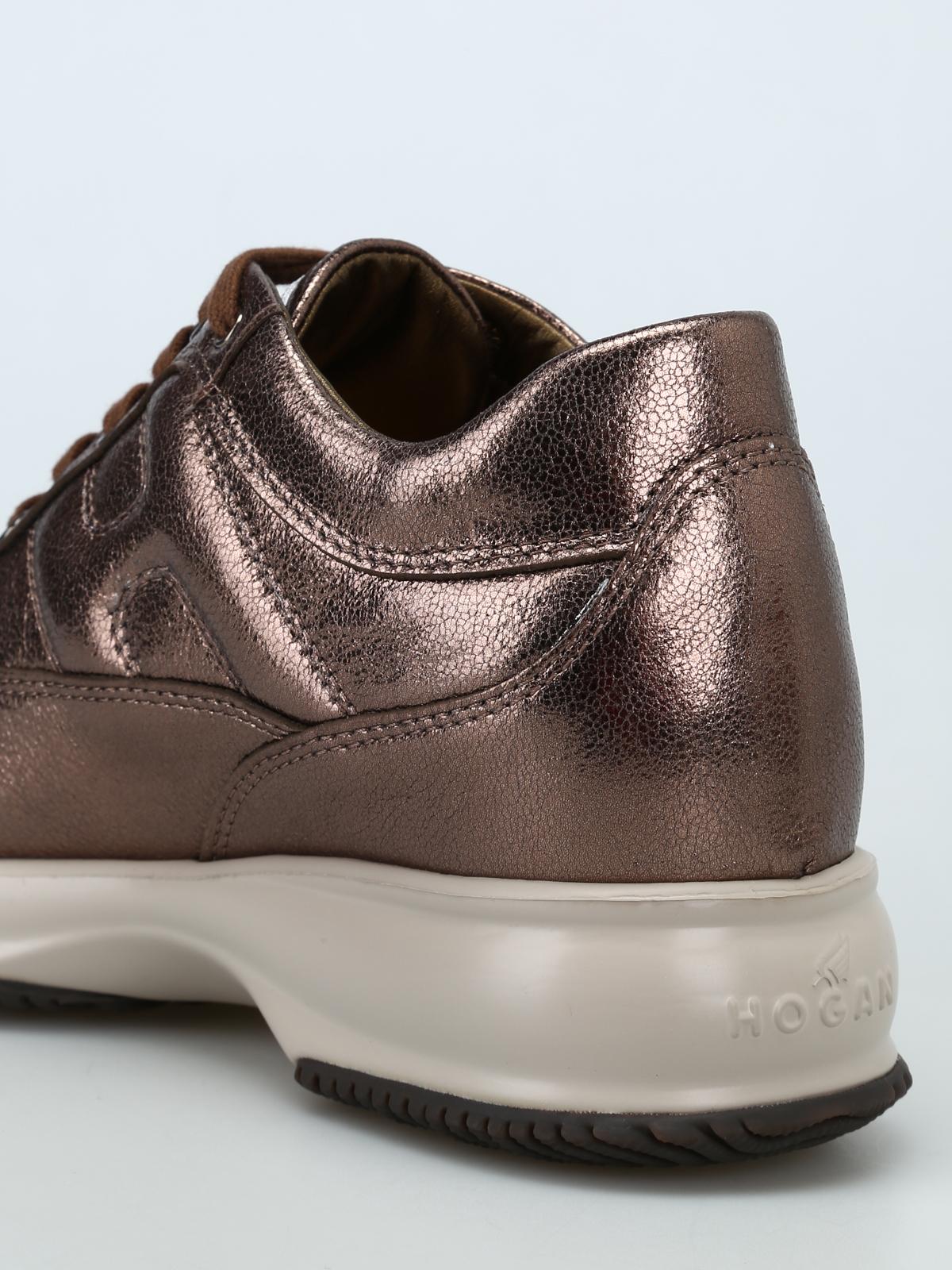 Hogan - Sneaker Interactive in pelle laminata bronzo - sneakers ...