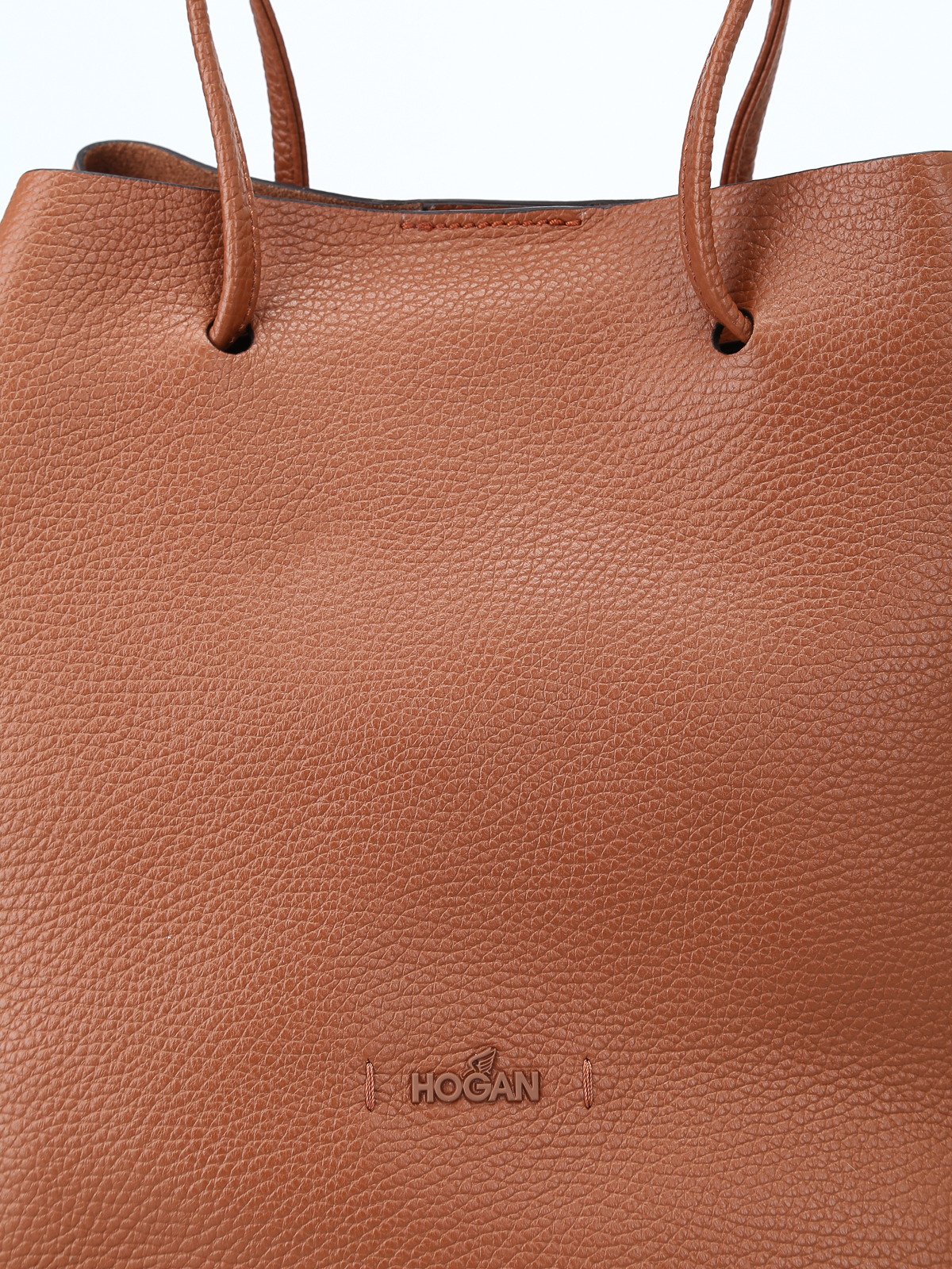 Hogan - Brown soft hammered leather bucket bag - Bucket bags ... dadae598e4f