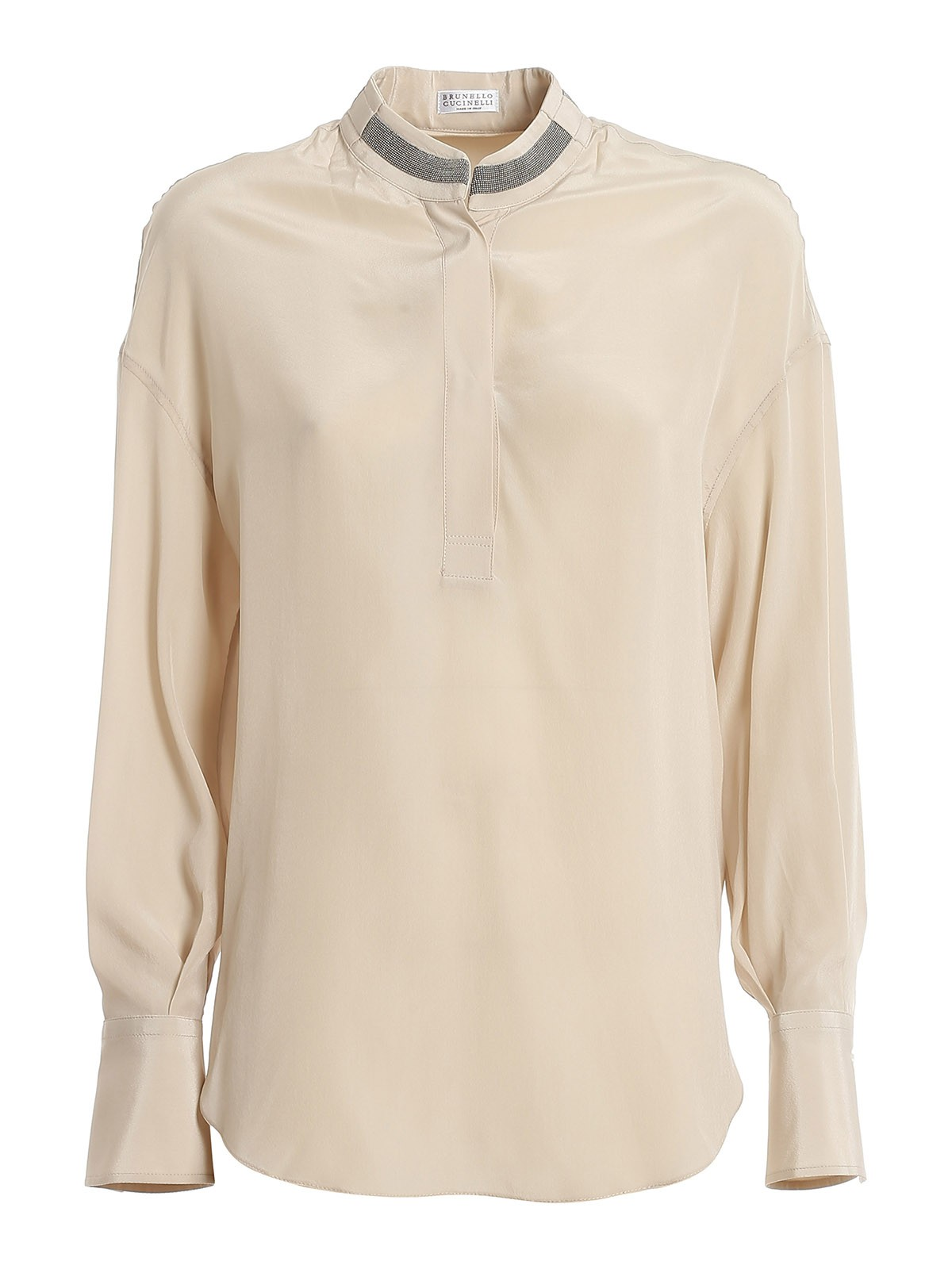 Brunello Cucinelli MONILI DETAIL SILK BLOUSE