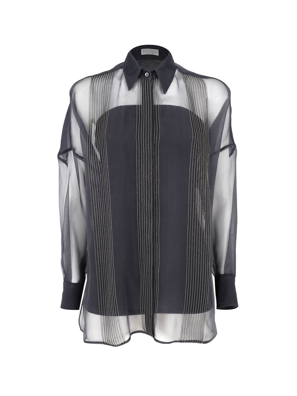 Brunello Cucinelli SHINY EMBROIDERED STRIPES BLOUSE IN BLUE
