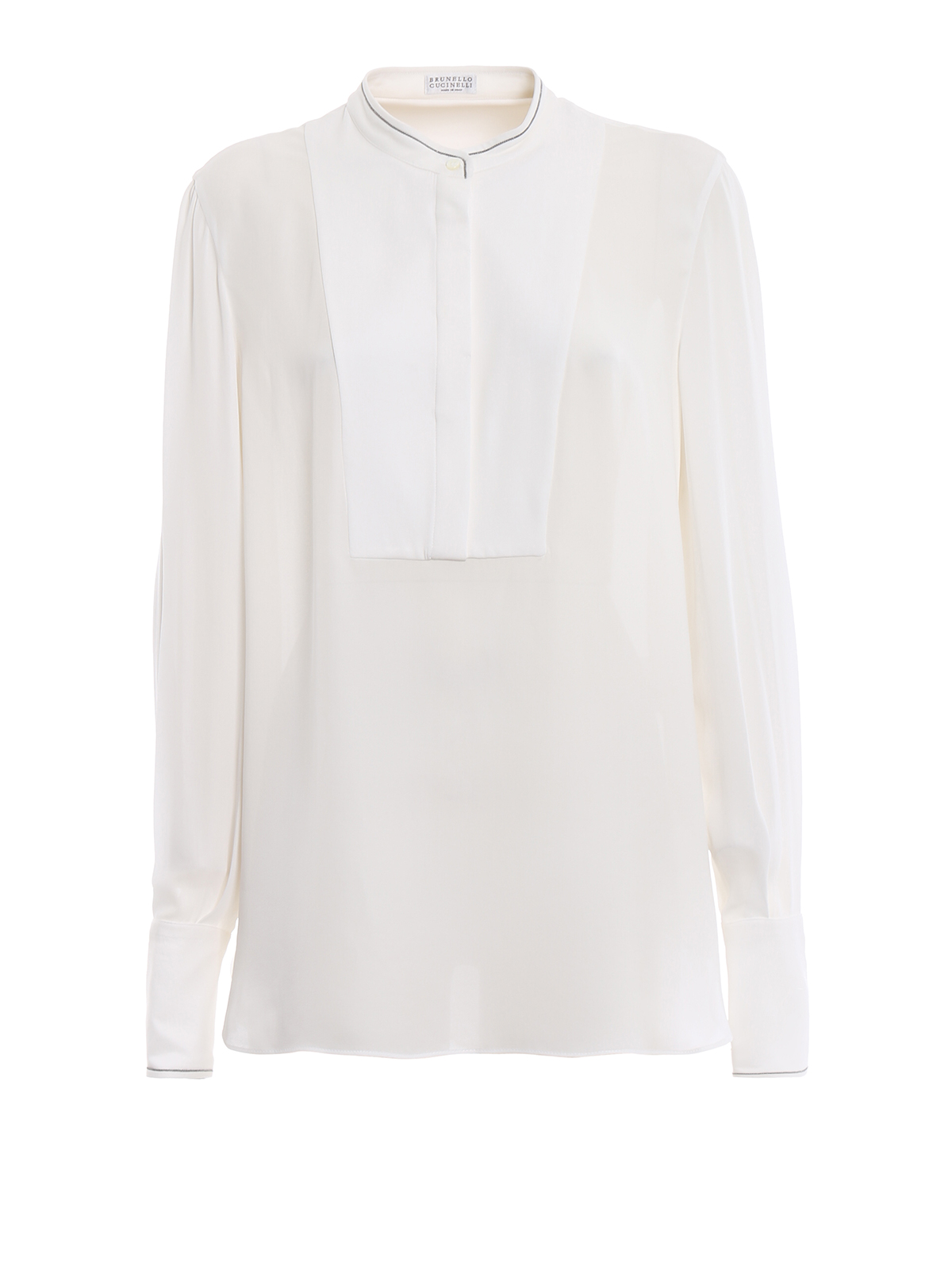 1ee1c48c559039 White Silk Blouse With Black Trim | Lauren Goss